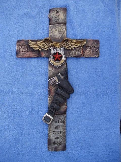 Police Wall Hanging Cross Gun Belt Badge