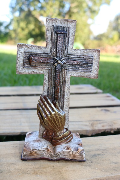 Praying Hands Cross on a Pedestal The Cross is on the Bible Barnwood Look Spikes