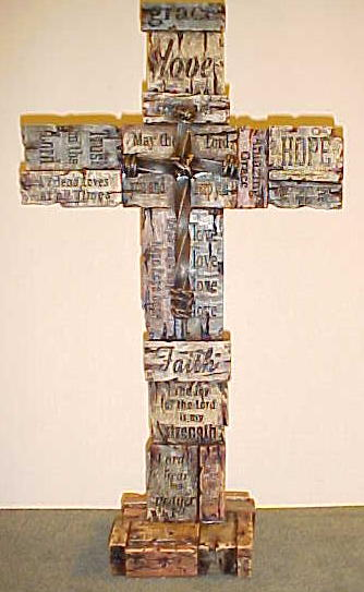 Standing Cross on Pedestal Faith Hope Love Amazing Grace Trust in the Lord Rejoice Friend
