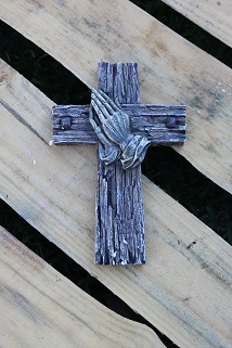 Praying Hands Cross Wall Hanging Decor Old Rugged Cross Barn Wood Look