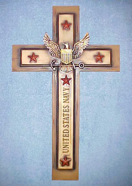 United States Navy Wall Cross Eagle with Shield and 5 Red Stars