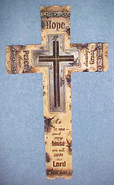 """Wall Hanging Cross """"As For Me And My House We Will Serve The Lord"""" Grace Hope Peace"""