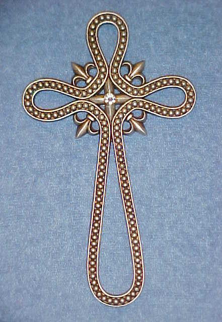 Silver Cross Wall Hanging Decor with Rhinestone Center