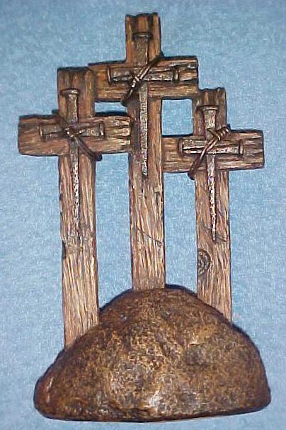 3 Crosses on Rock Pedestal Spikes Barb Wire Barnwood Look