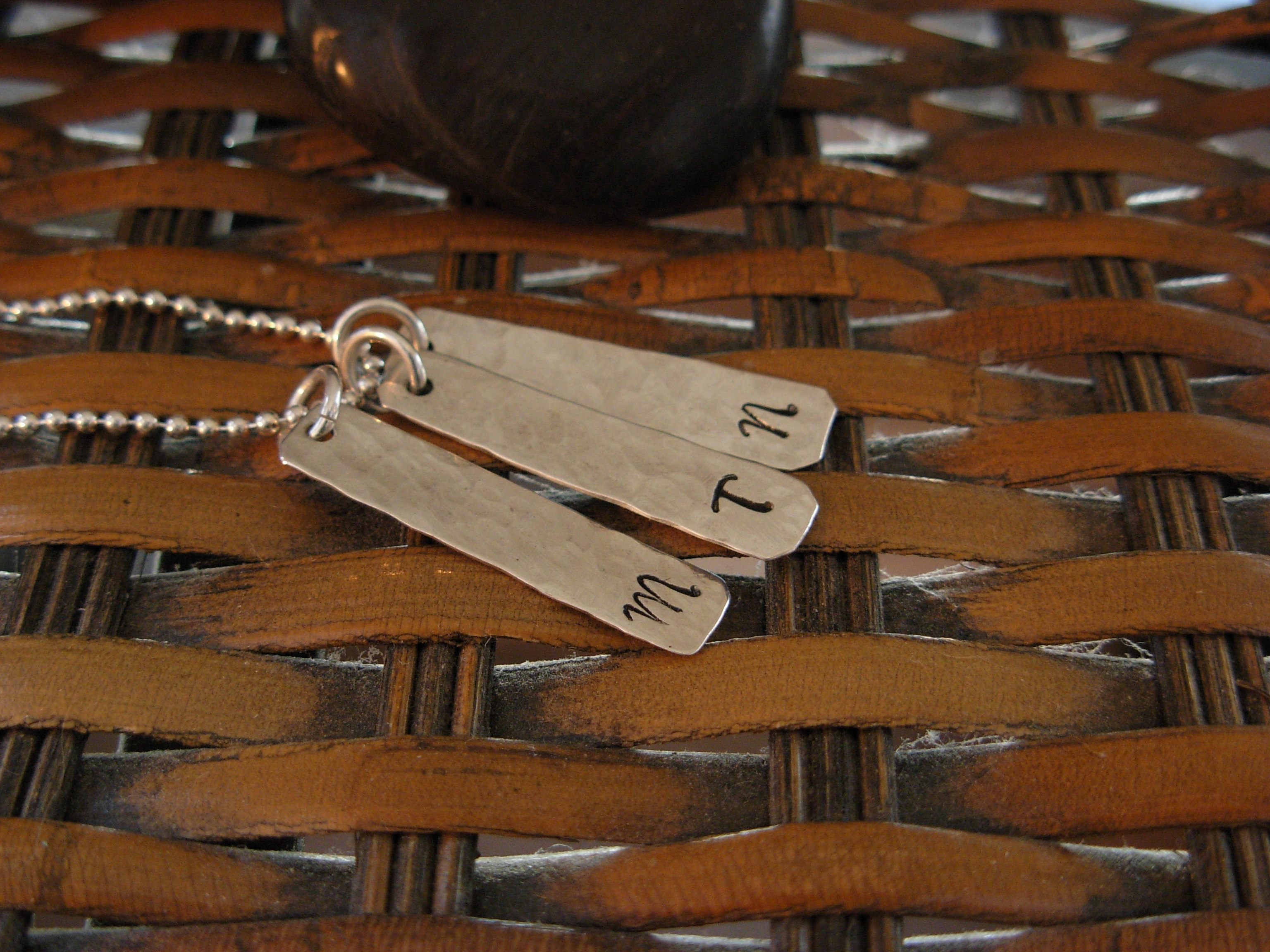 LONG SILVER INITIAL TAB NECKLACE (3 Tabs)
