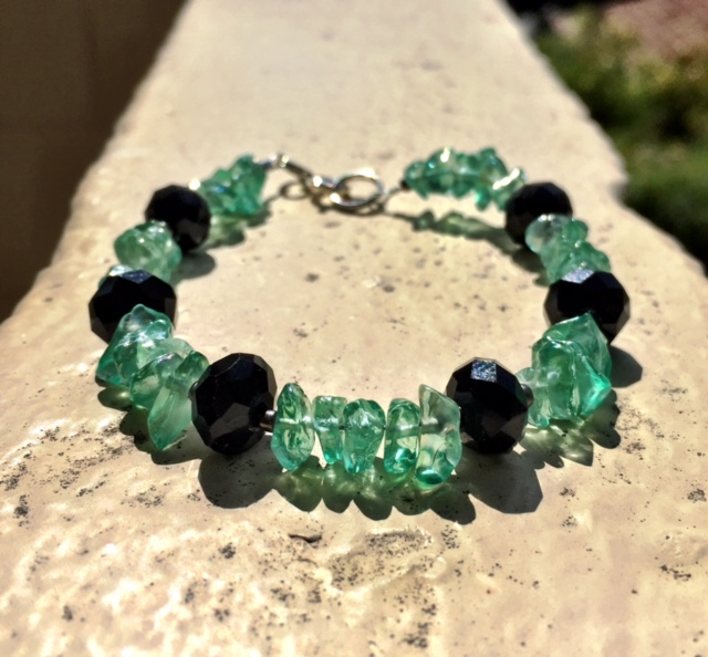 ONYX & TEAL ANGEL AURA QUARTZ BRACELET