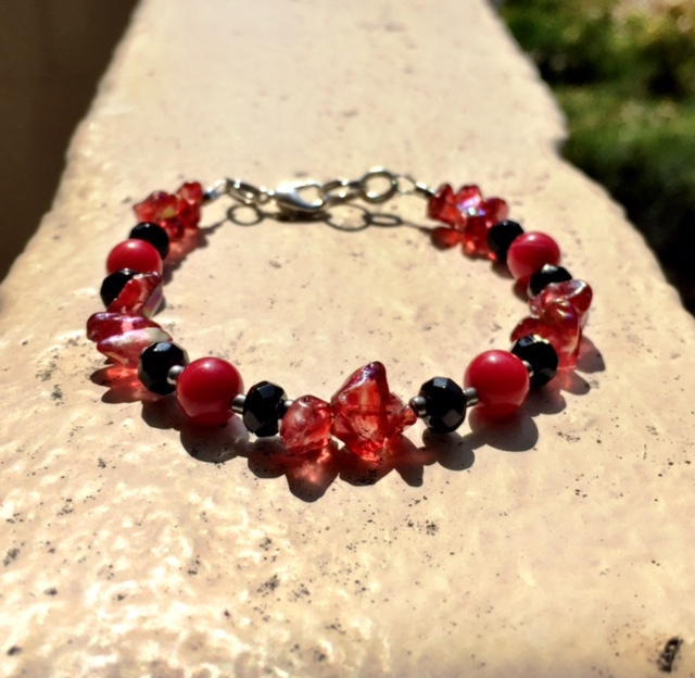 RED CORAL, ONYX & RED ANGEL AURA QUARTZ BRACELET