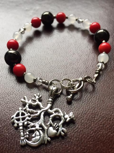 CIMARUTA BRACELET - Red Coral, Jet & White Jade