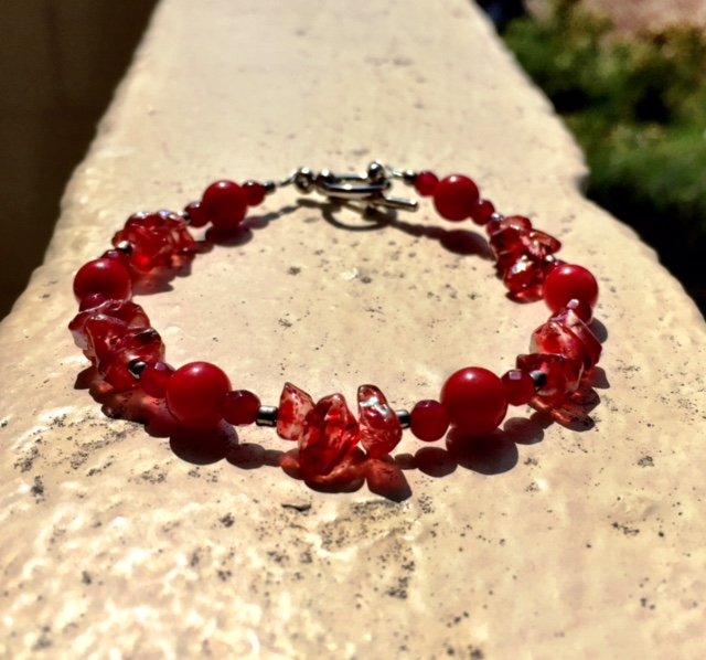 GARNET, RED CORAL & RED ANGEL AURA QUARTZ BRACELET