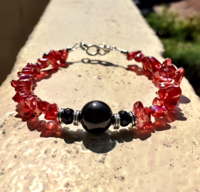 JET & RED ANGEL AURA QUARTZ BRACELET