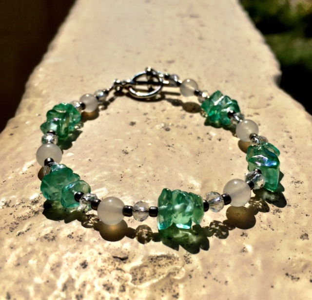 WHITE JADE & TEAL ANGEL AURA QUARTZ BRACELET