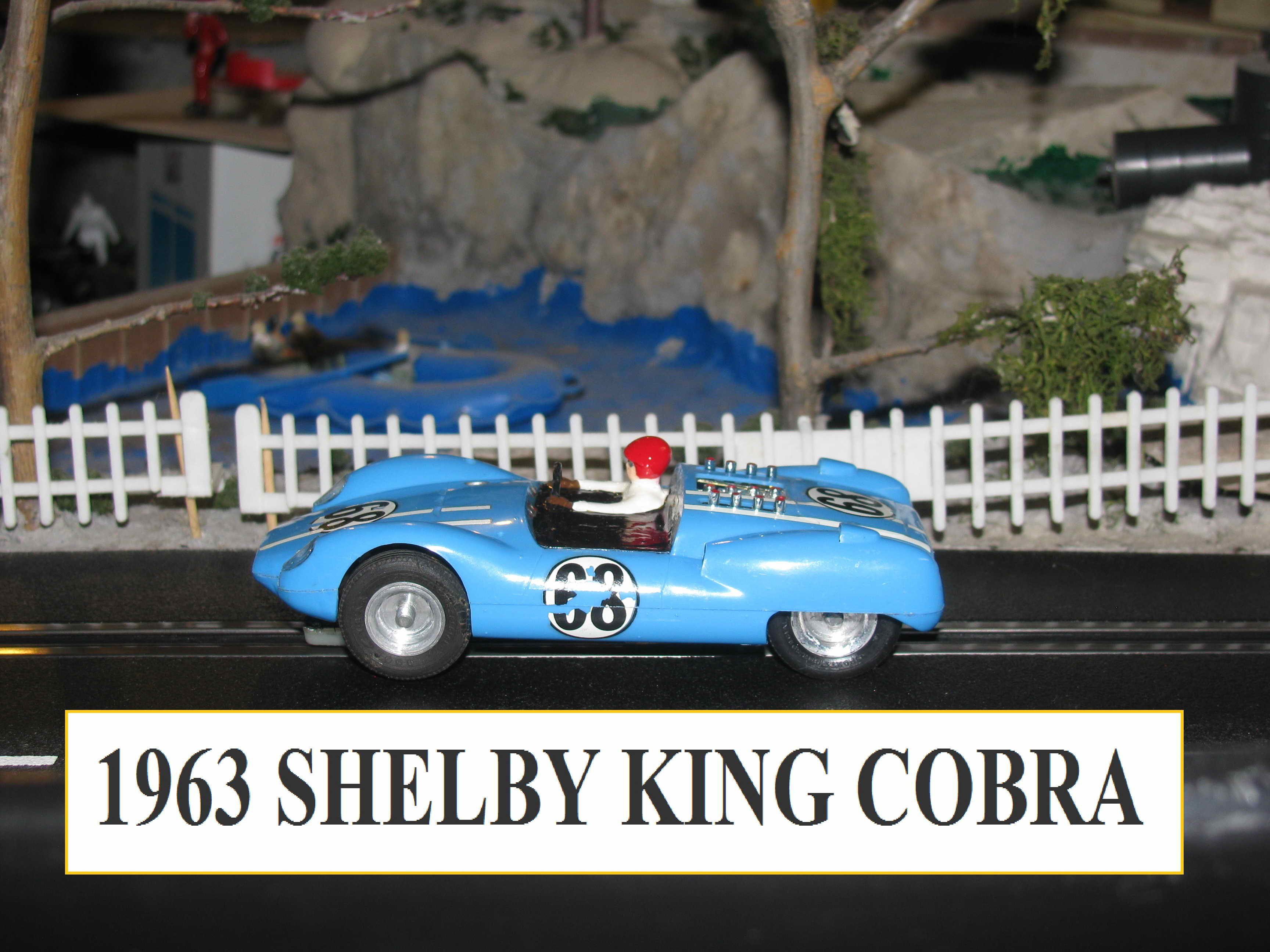*SOLD* MONOGRAM SLOT CAR 1963 SHELBY KING COBRA #68 GOOD CONDITION WITH SOME MODS