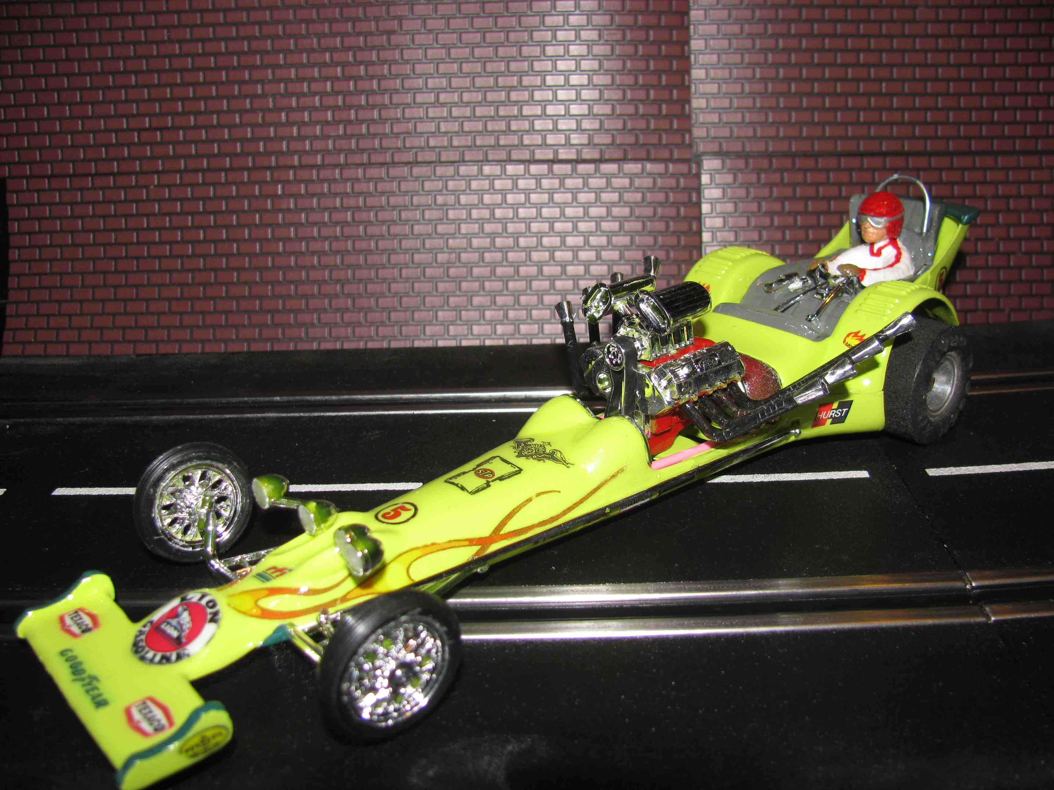 "*SOLD* Revell Monogram Ford Powered ""Fiery Lime Quarter-Mile Time"" Dragster Slot Car 1/24 Scale"