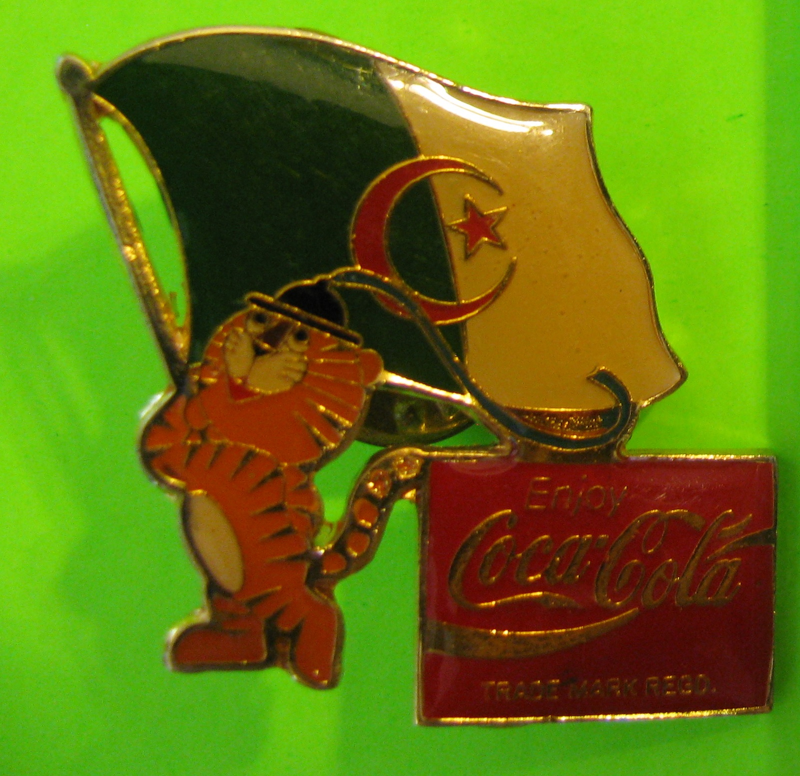 Vintage Coca Cola Pin with Olympic Tiger & Algerian Flag (Seoul 1988) – Butterfly Clutch