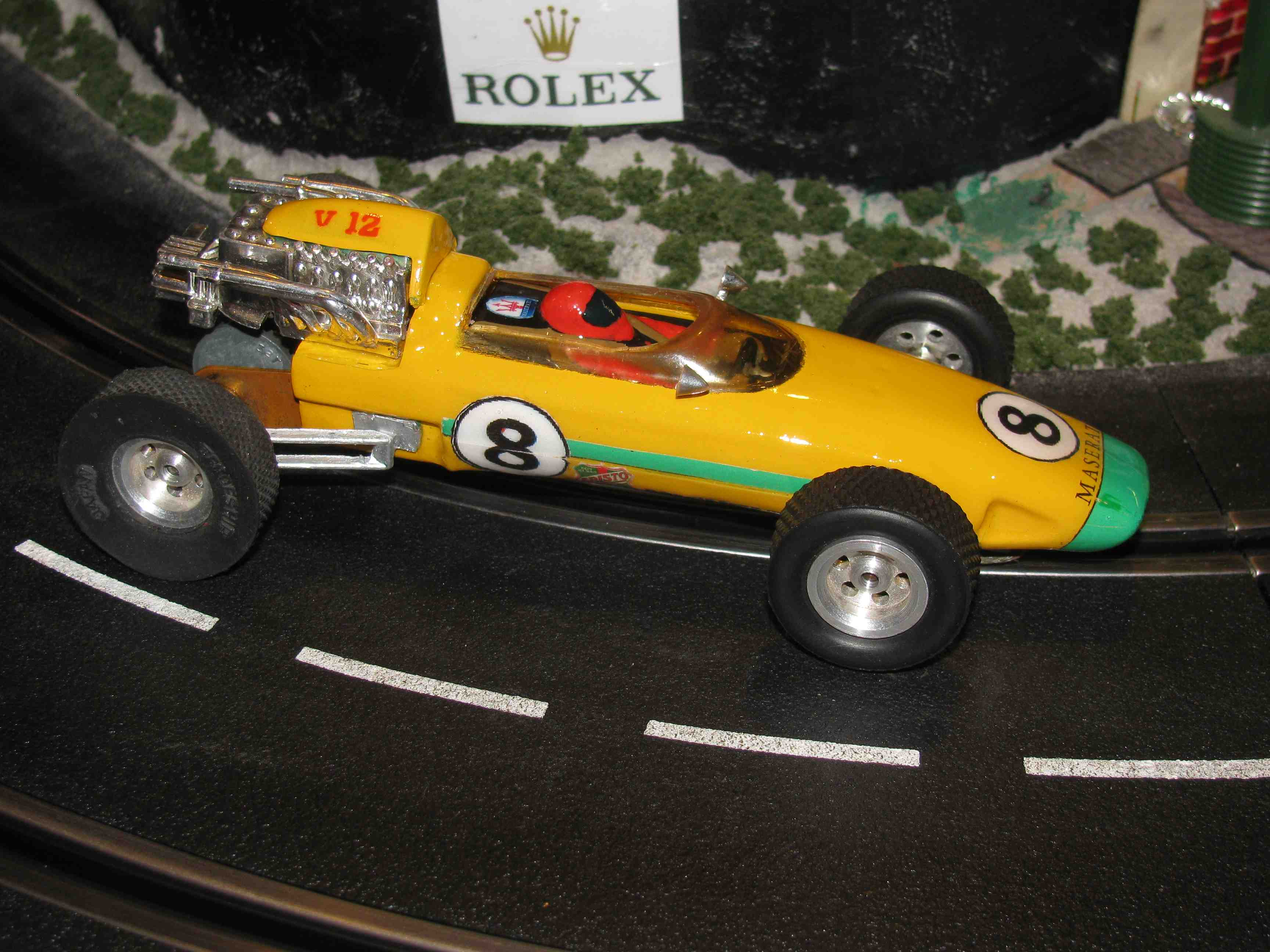 * SOLD * Maserati Formula One V-12 Slot Car 1/24 Scale - Yellow – Car #8