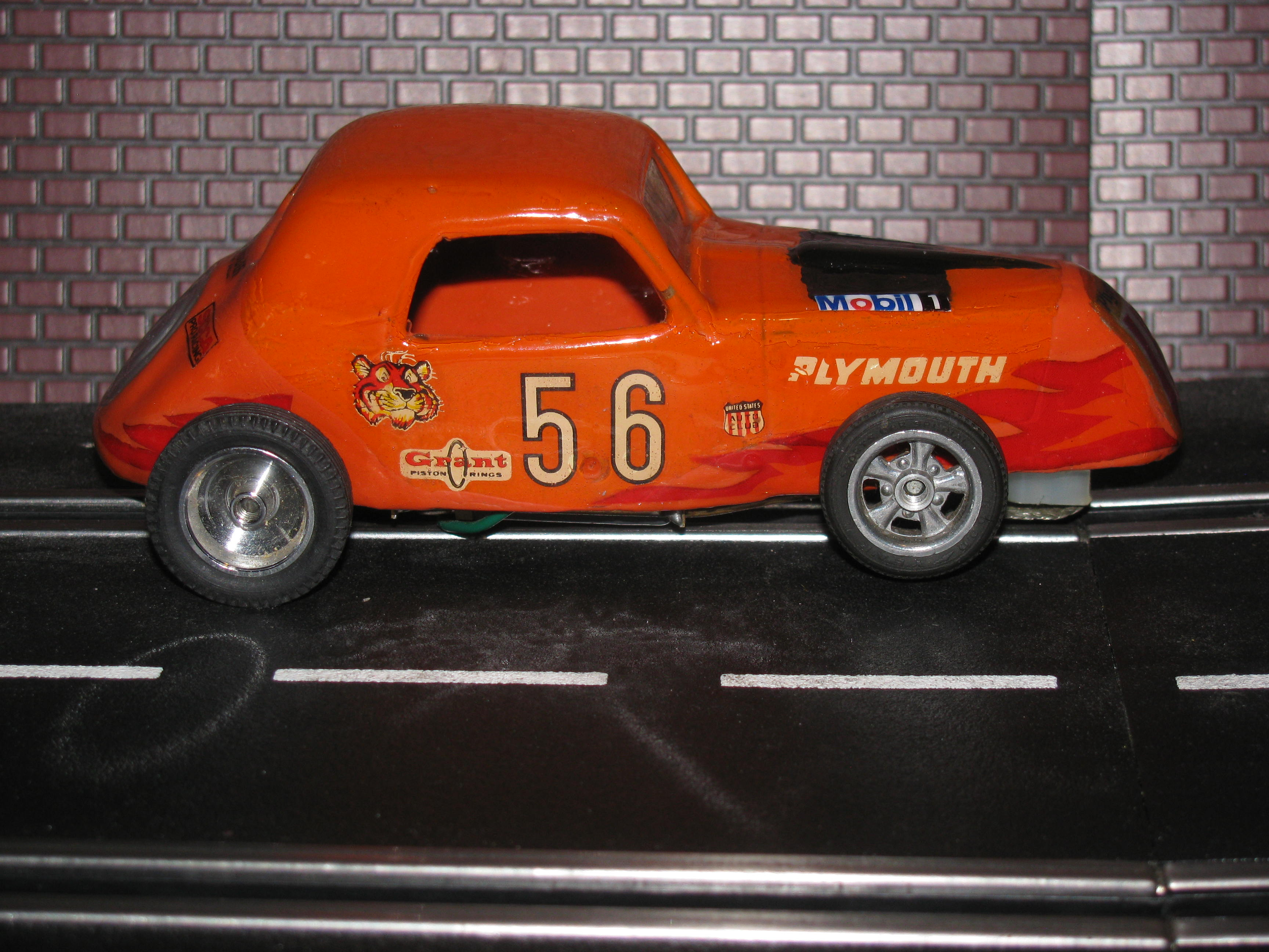 Vintage Plymouth Roadster with Aristo-craft chassis  - Orange Car 56 - 1/32 Scale