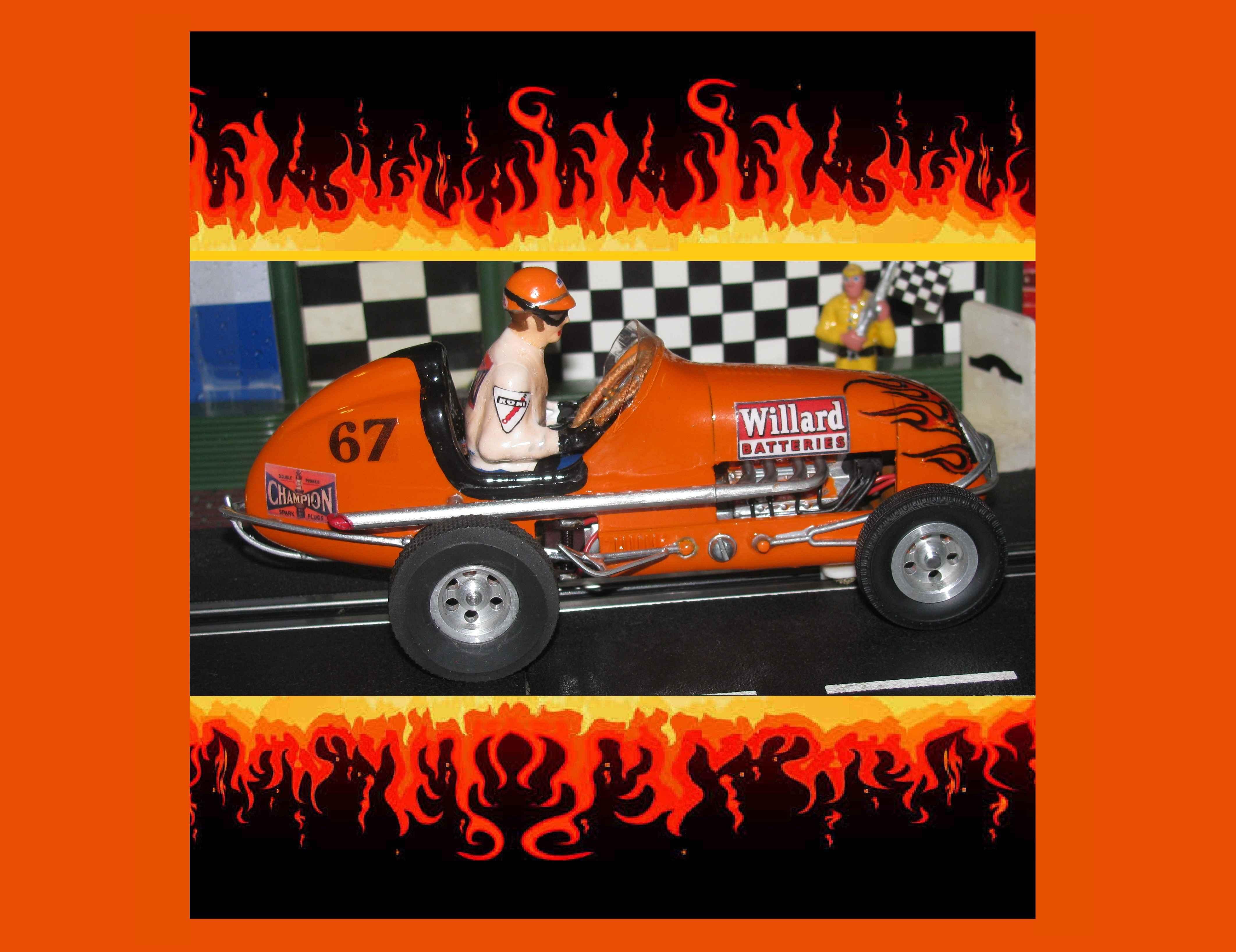 *SOLD* * SUMMER SALE * Monogram Midget Outrageous Orange VI Racing Special Slot Car 1/24 Scale (Outrageous Orange) Car #67