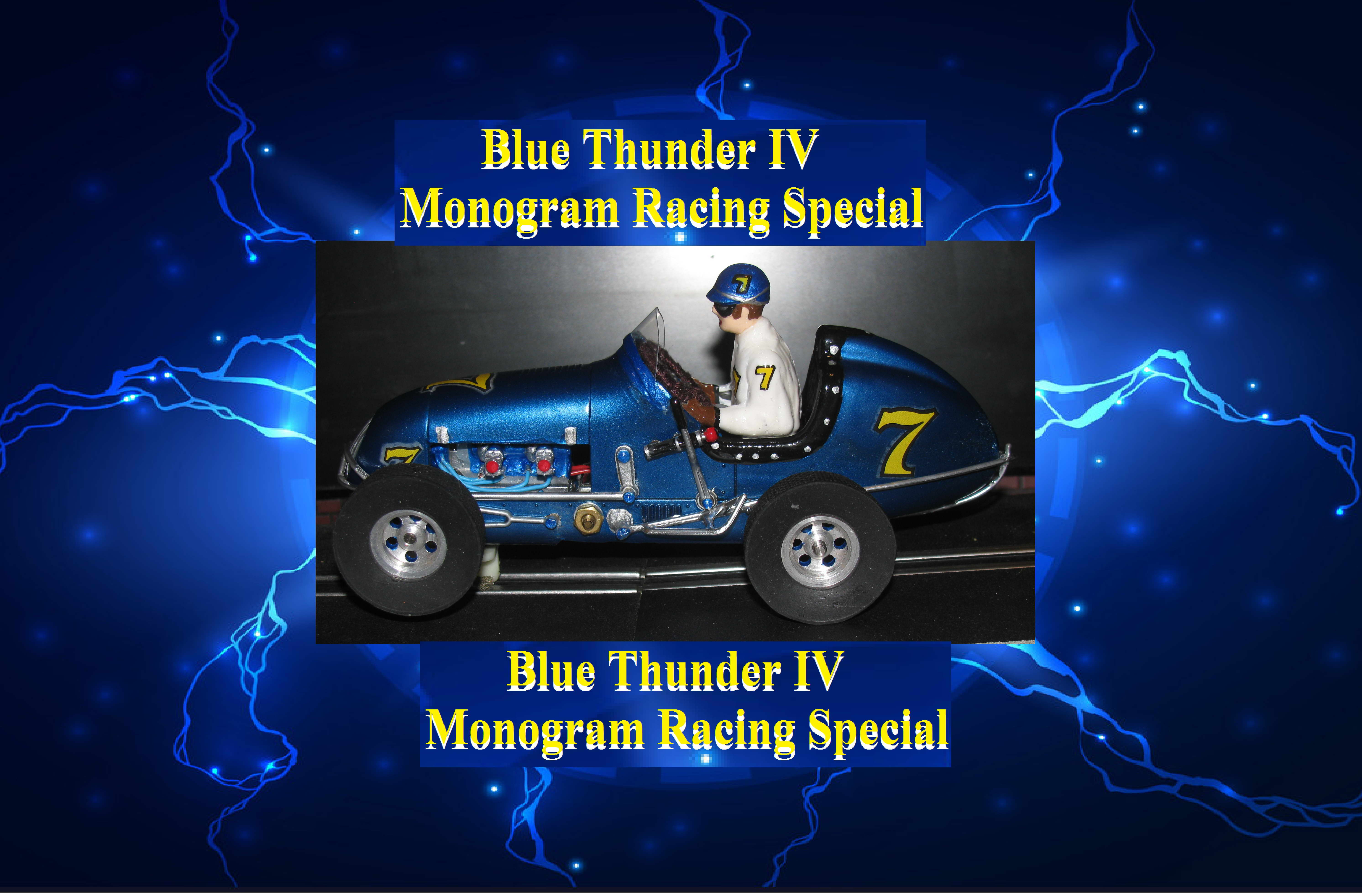 * SOLD * Monogram Midget Racing Special Blue Thunder IV Slot Car