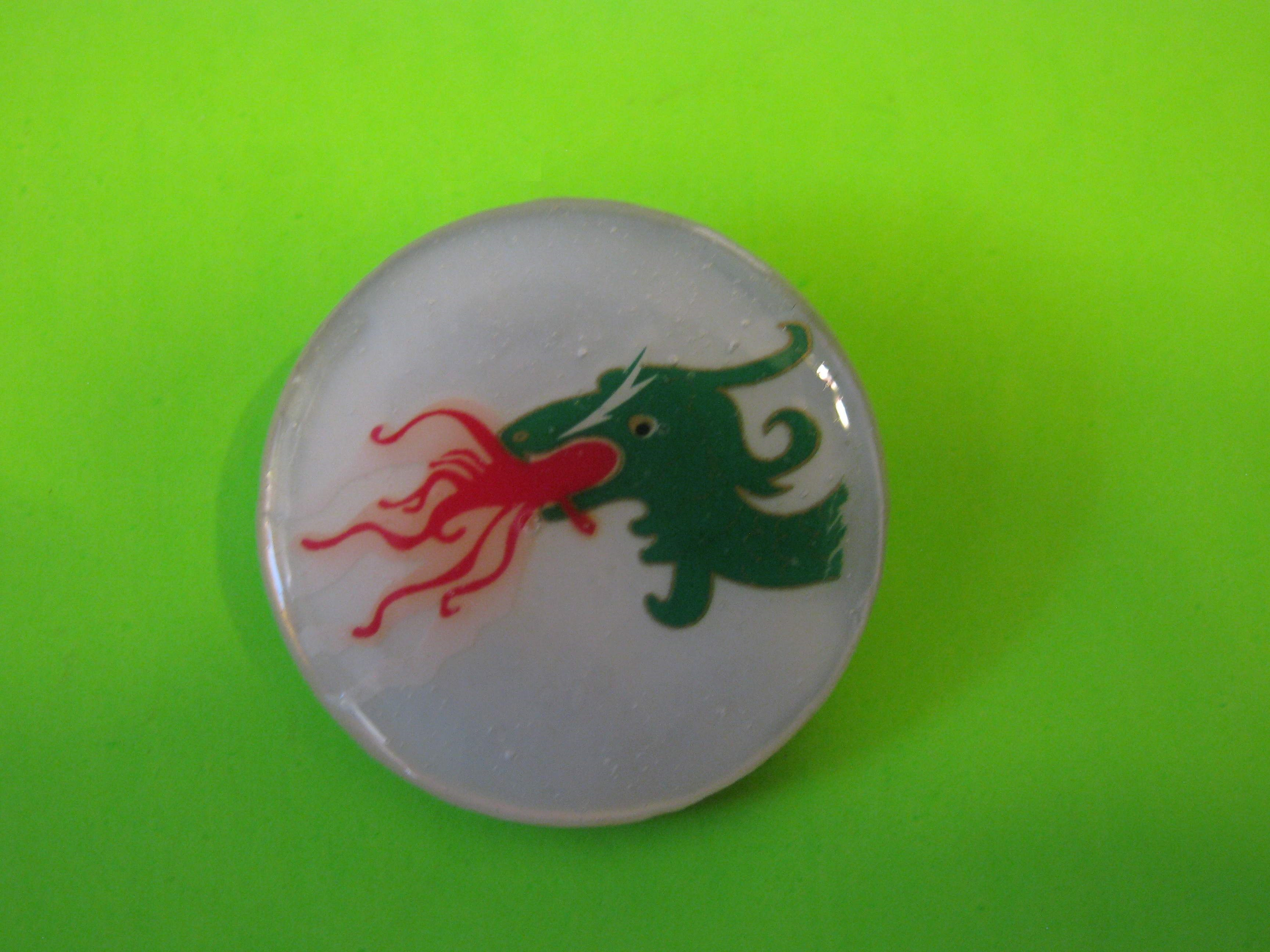 Fire Breathing Dragon on Mother of Pearl Button with Brass Claw Shank (Right Side)