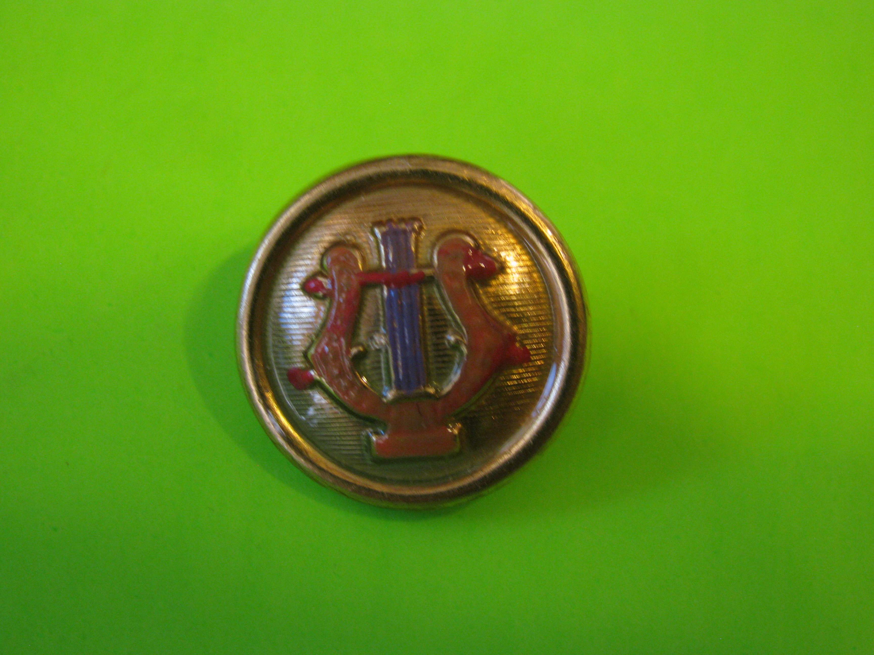 Decorative Colorful Harp on Metal Button with Metal Loop Shank