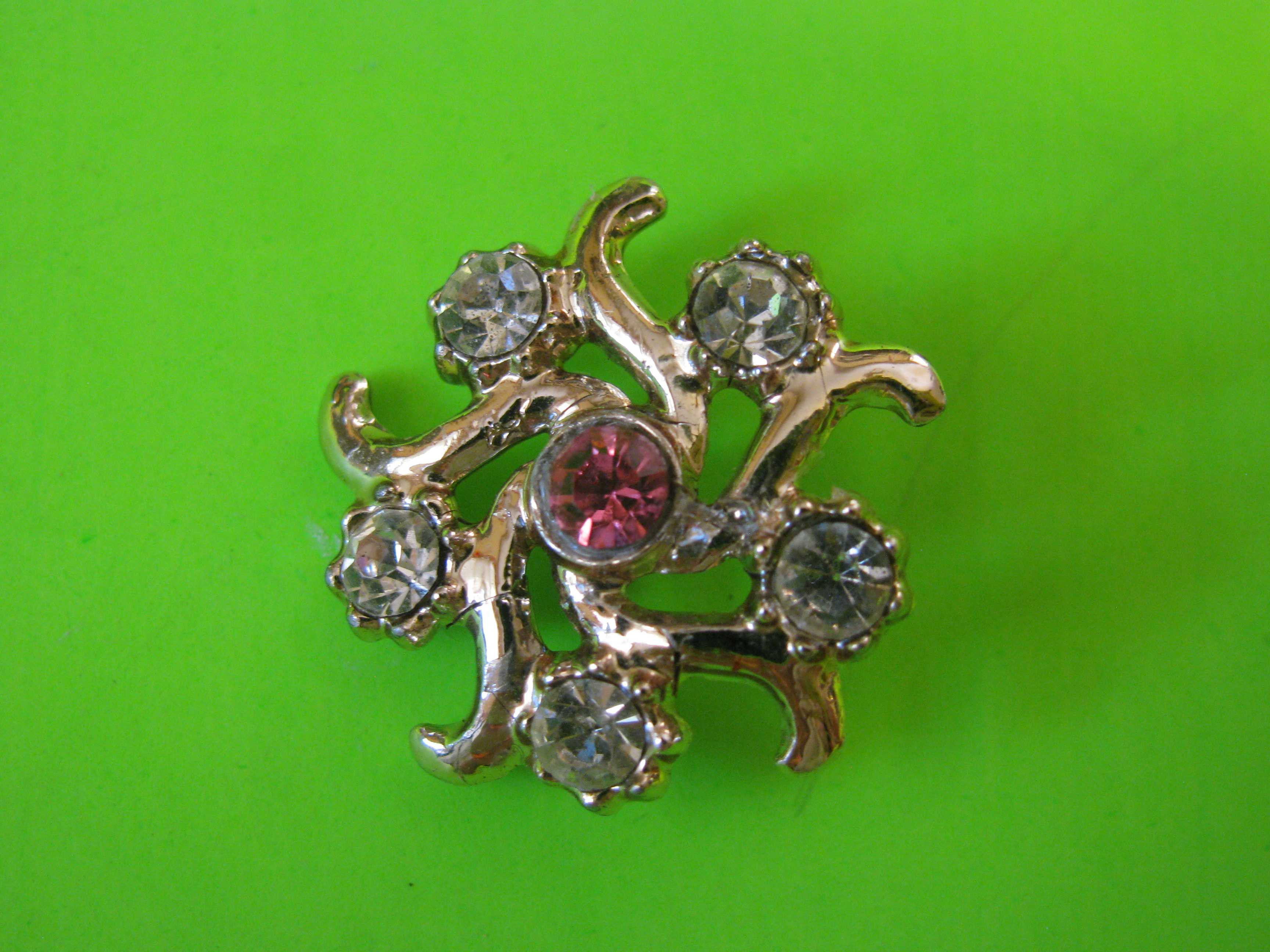Starfish Shaped Button Embedded with Pink and White Rhinestones and a Small Loop Shank