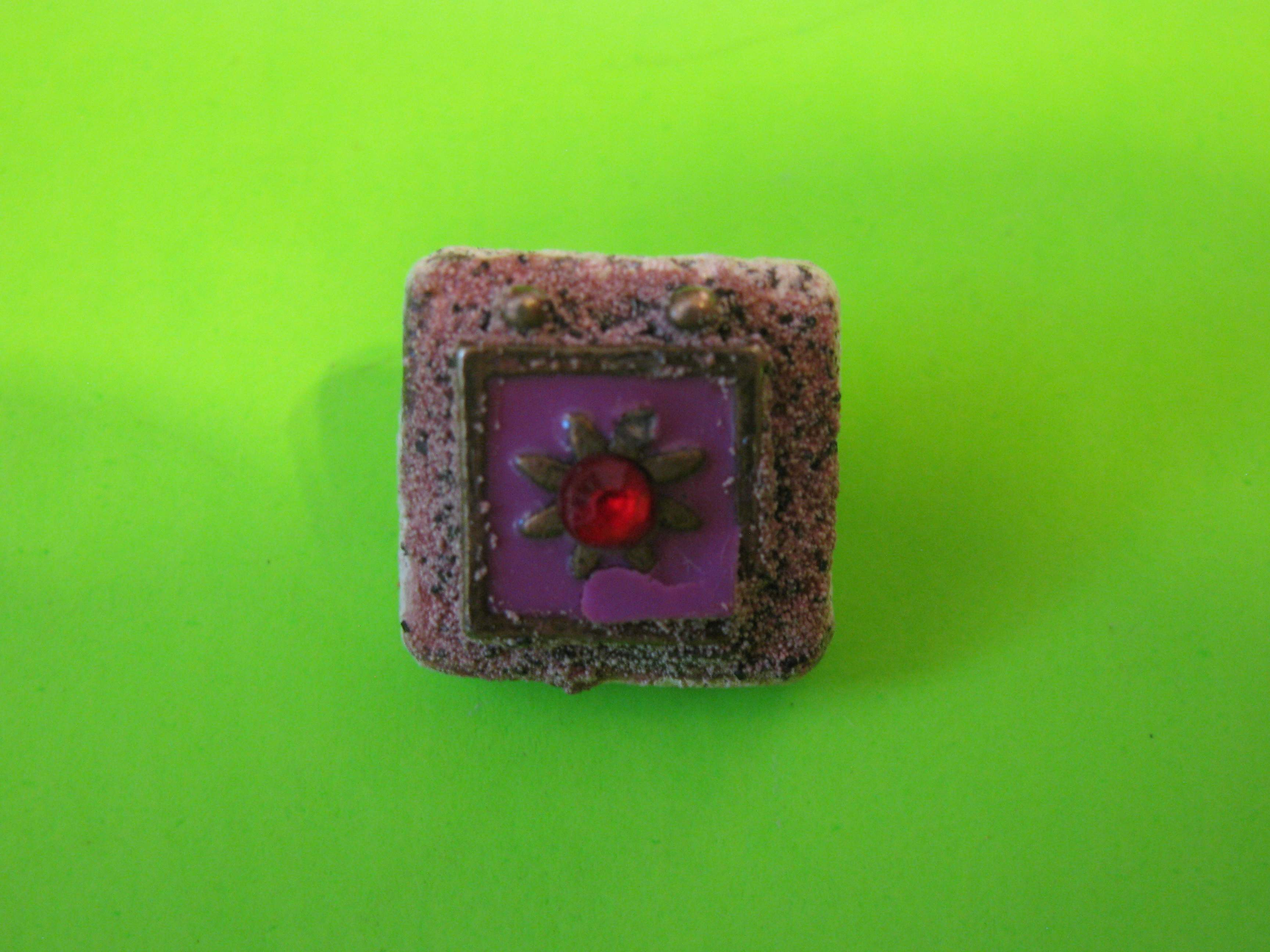 Tile Shaped Square with Rhinestone Center on Delicate Metal Button with Metal Loop Shank