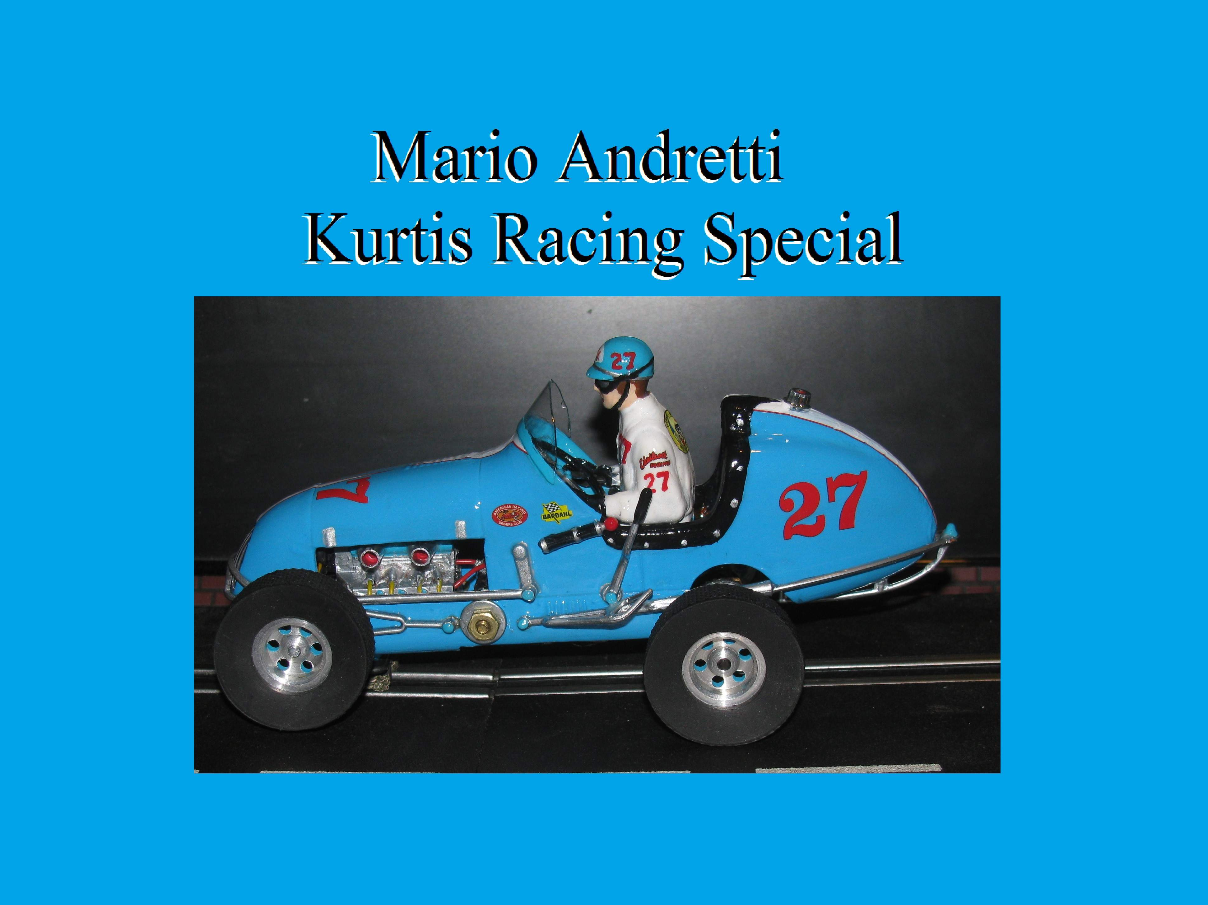 *SOLD* * SALE * Midget Racer Mario Andretti Kurtis Racing Special Slot Car 1:24 Scale Car #27