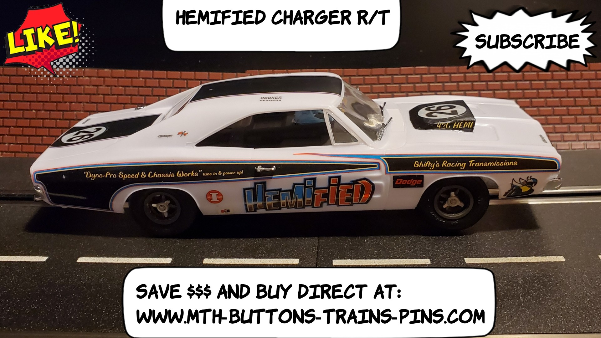 Dodge Charger R/T Hemified Slot Car 1:24 Scale White Car #26
