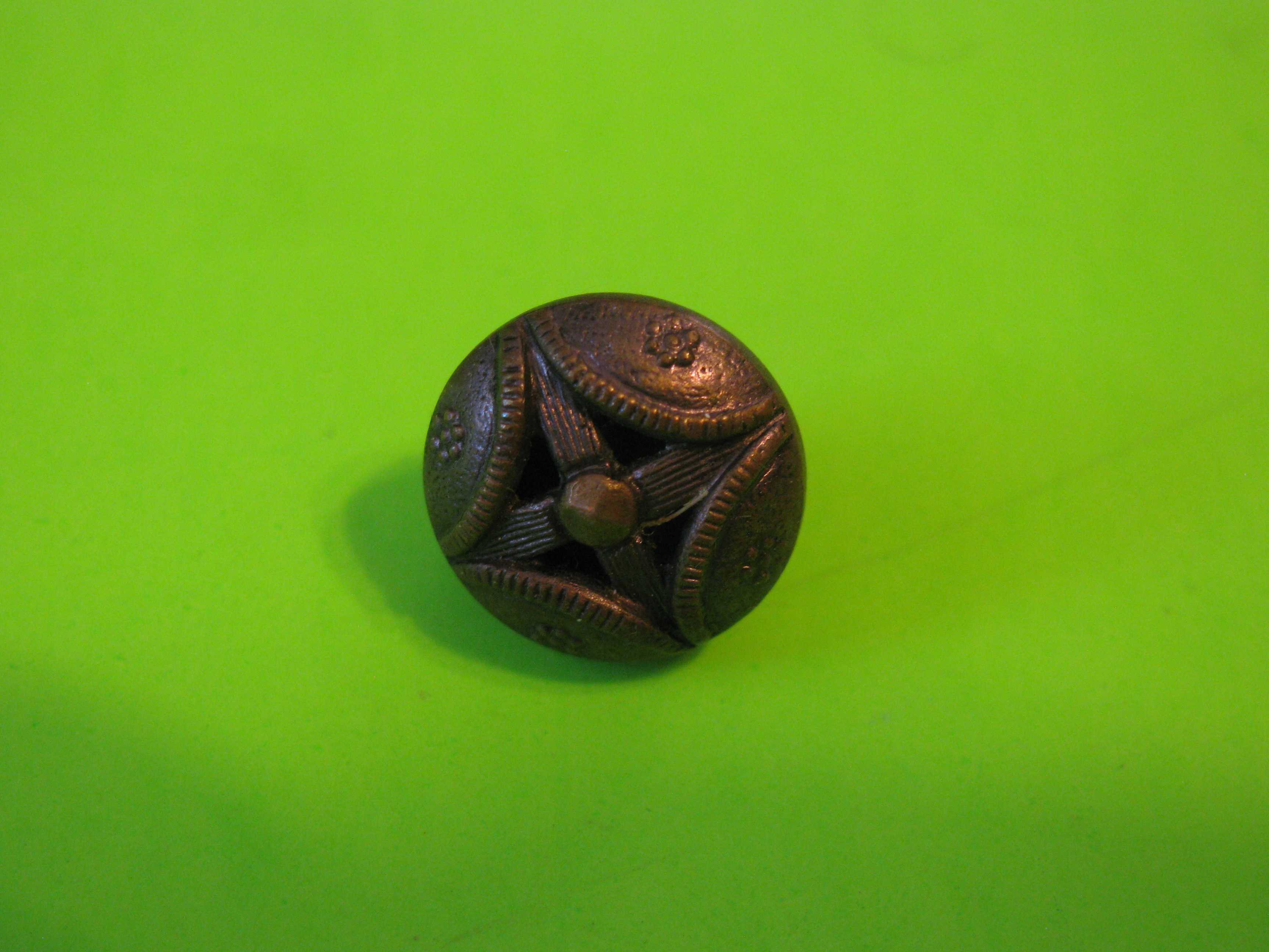 Antique Austrian Metal Button with Intricate Design with Metal Loop Shank