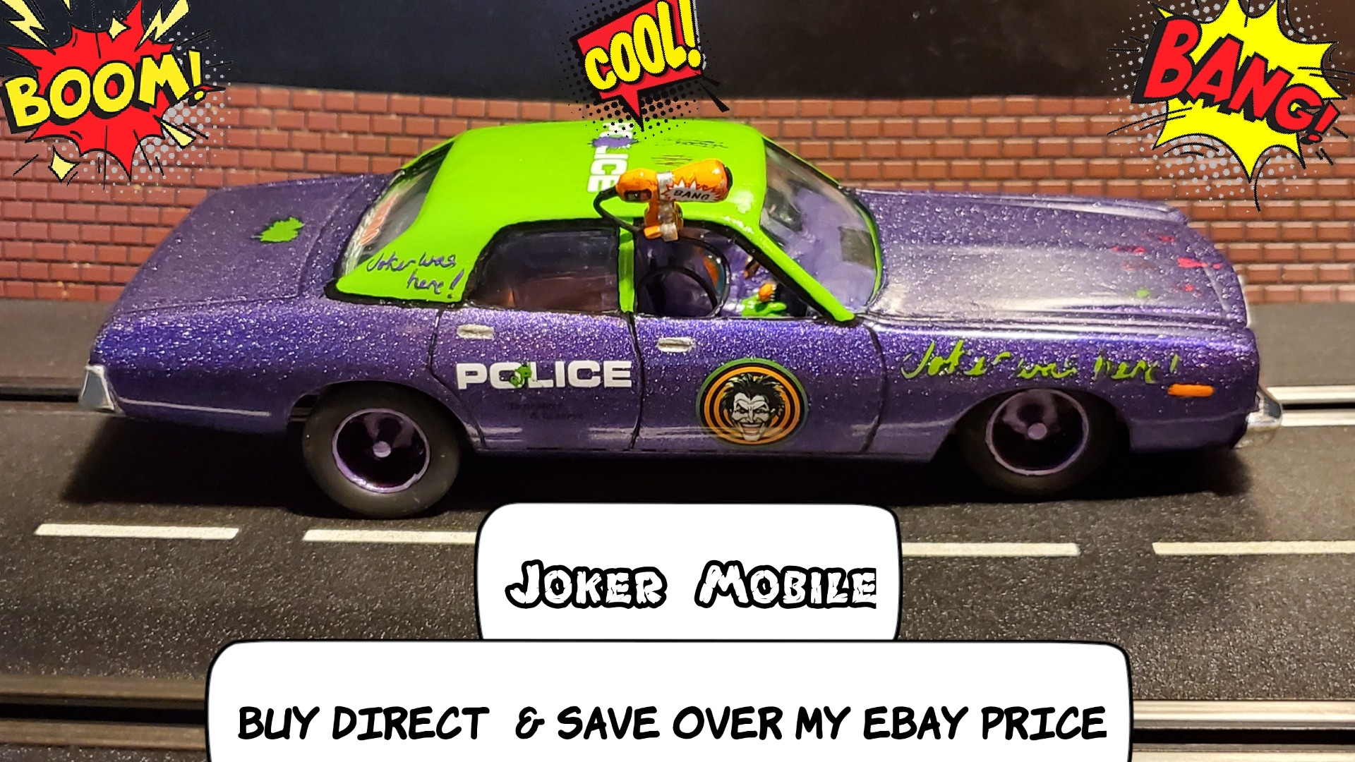 * Super September SALE * Save $$ vs. my Ebay Store * The Gotham City Joker Mobile Getaway Slot Car 1/24 Scale - Pearl Metal Flake Purple with Metallic Lime Green Paint, Multi Stage Clear Coat with Ceramic Coating