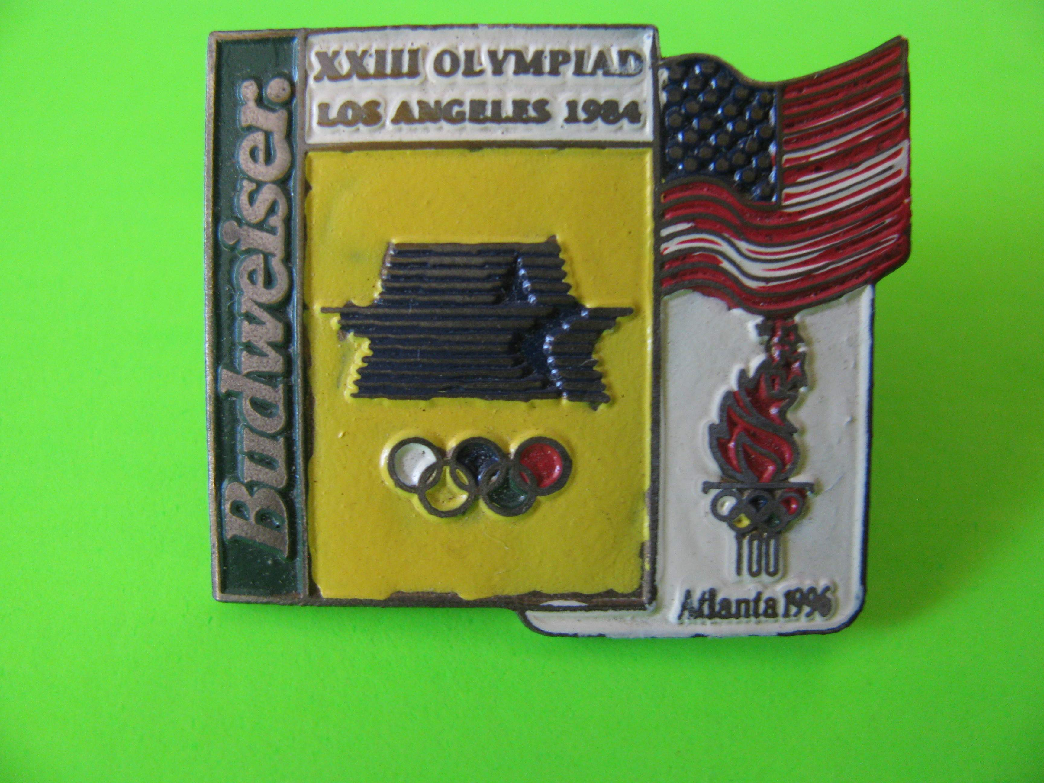 XXIII Olympiad Los Angeles 1984 to Atlanta 1996 Budweiser Promo Pin with Butterfly Clutch