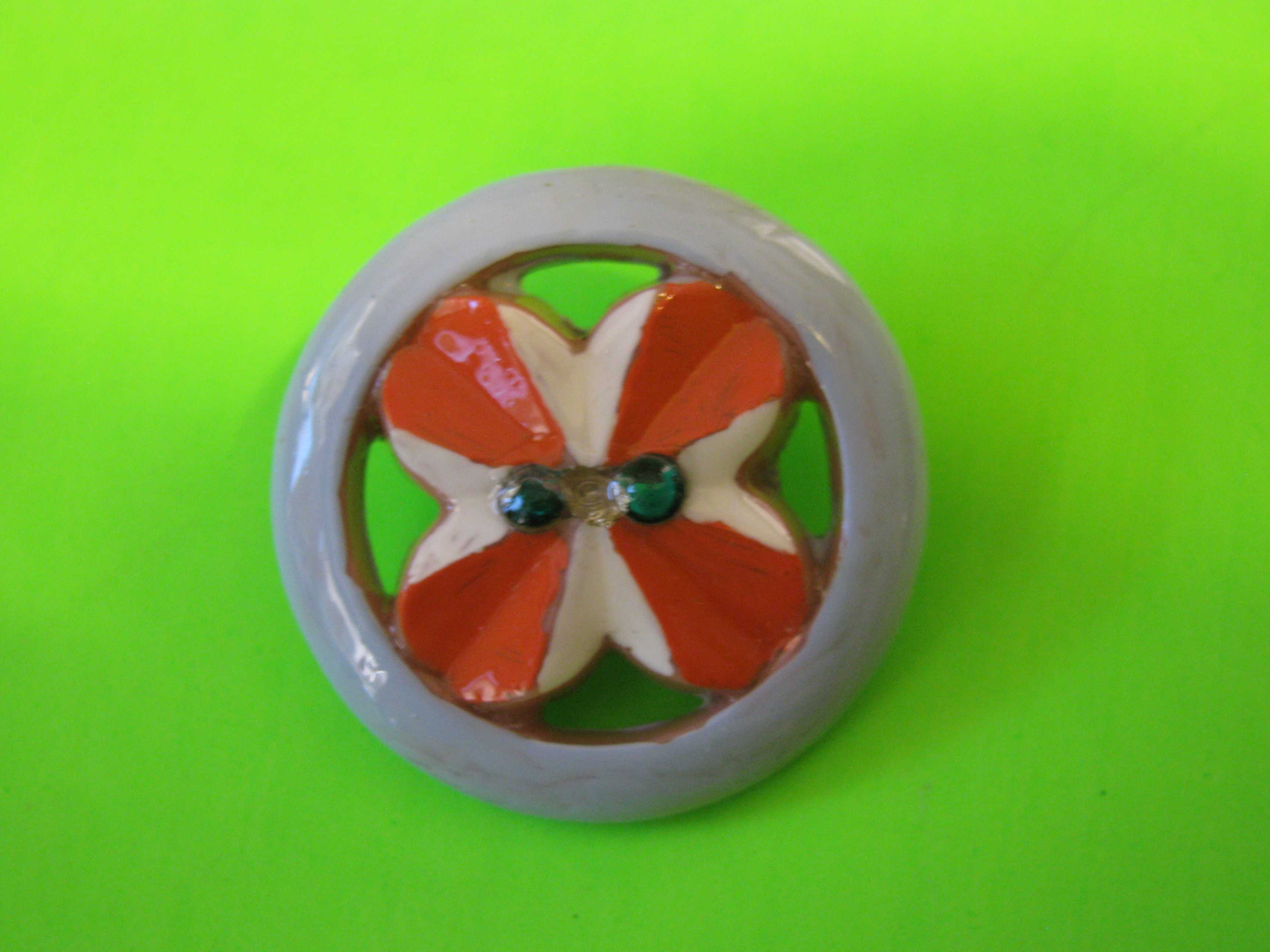 Red & White Art Deco Plastic Button with Encircled Rhinestones & Claw Shank