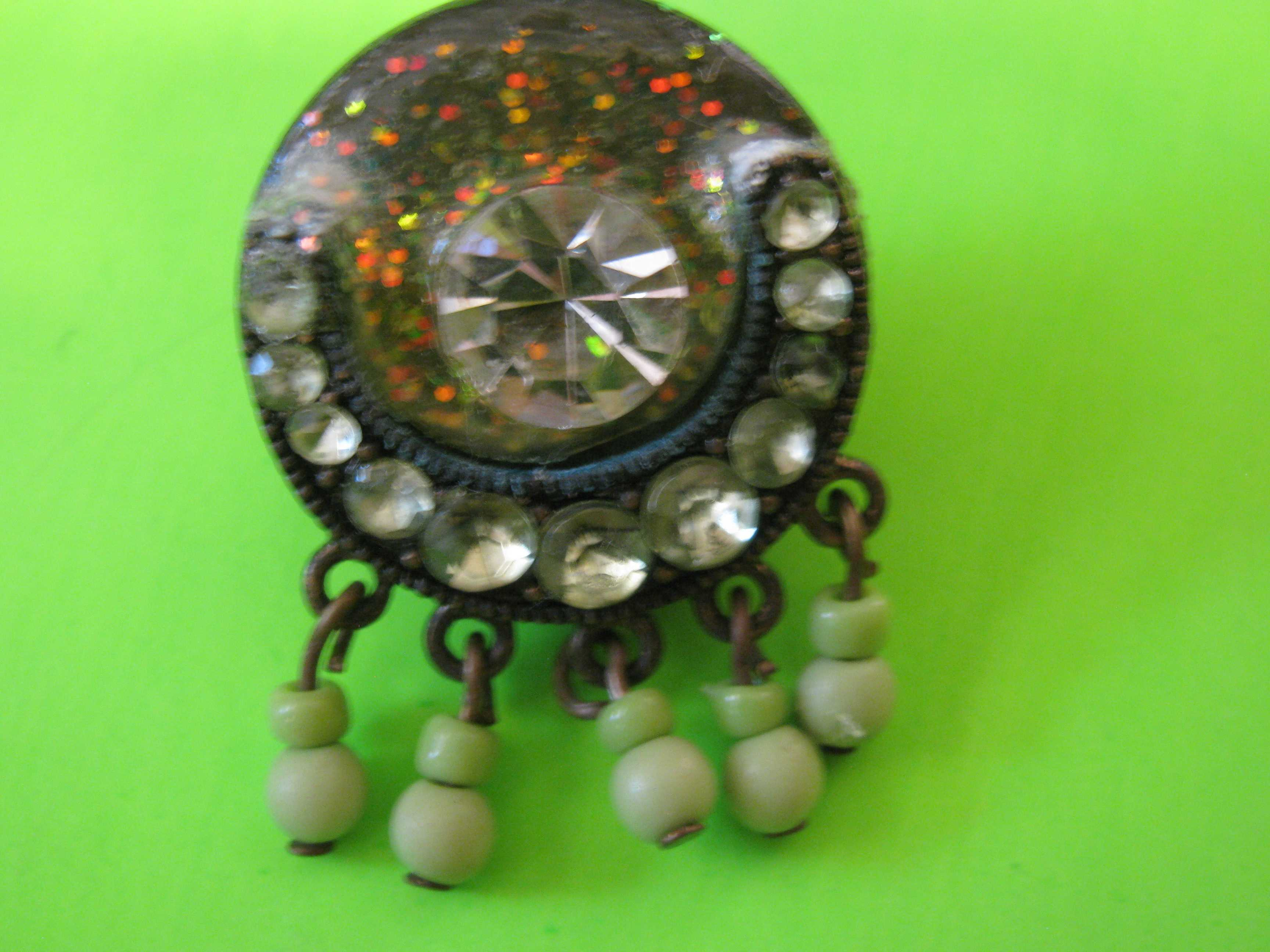 Vintage Rhinestones and Beads Button with Silver Metal Loop Shank