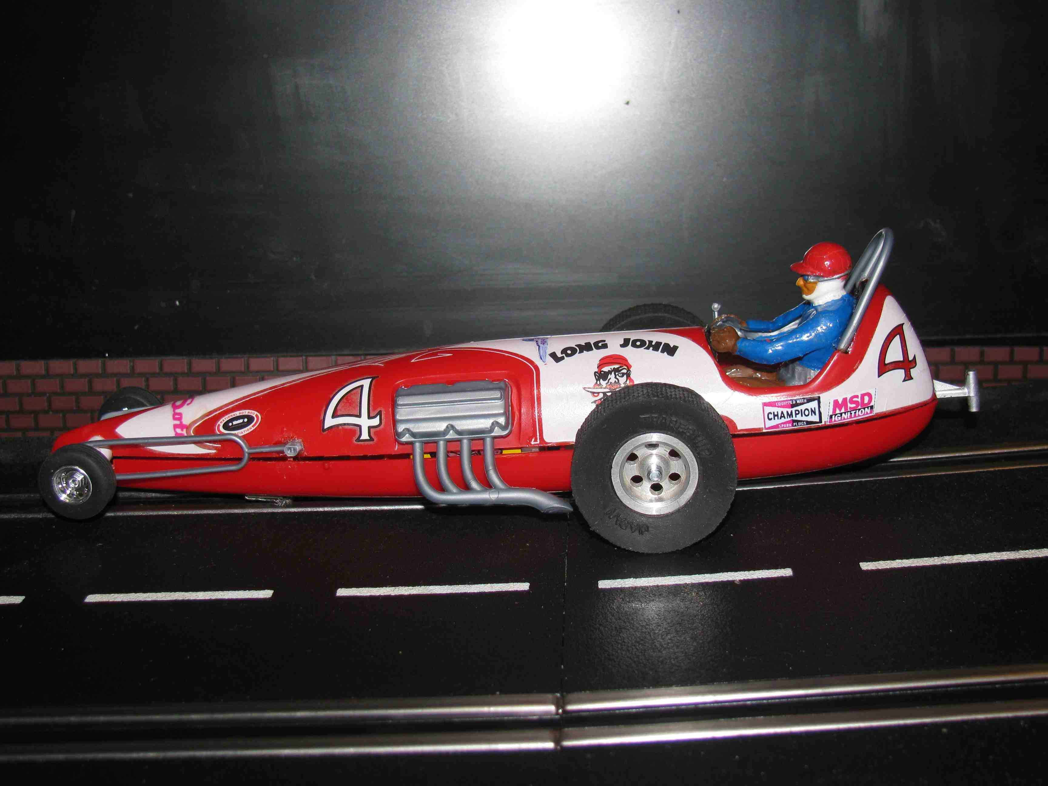 *SOLD* Vintage Monogram Revell Long John Dragster Slot Car 1/32 Scale – Red – Car #4 VIII