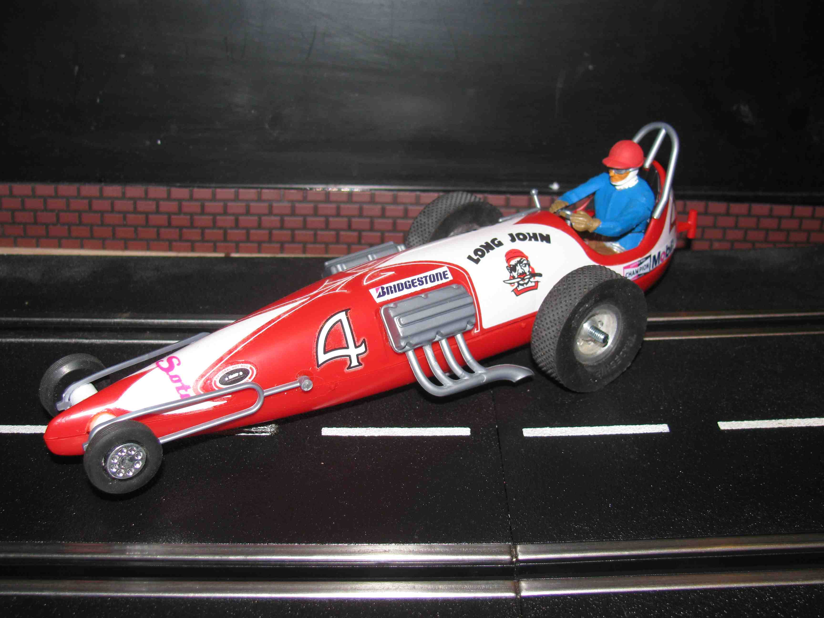 * SOLD * Vintage Monogram Revell Long John Dragster Slot Car 1/32 Scale – Red – Car #4 VI