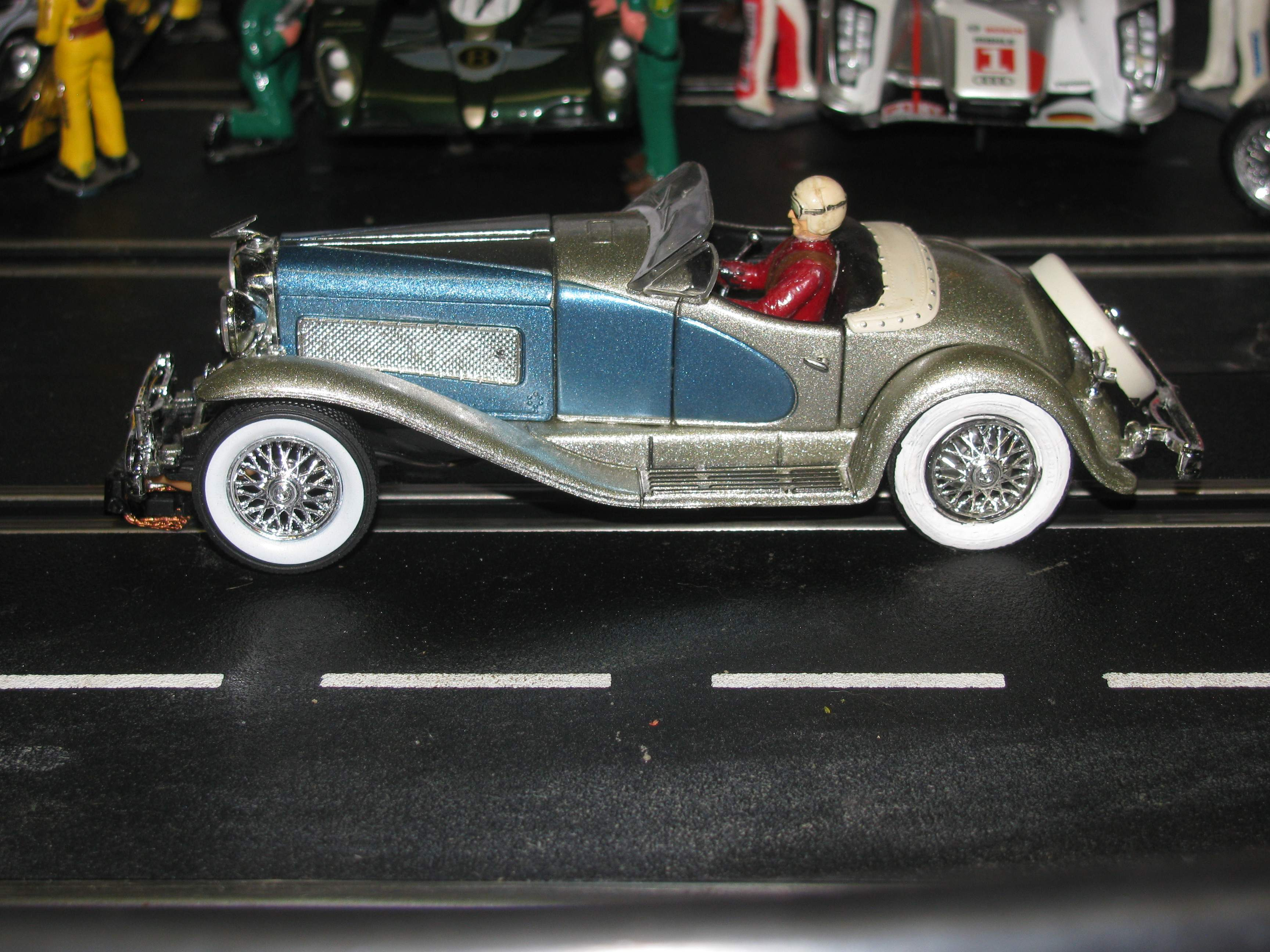 * SOLD * * Special Package Price for Charles * 1935 Duesenberg SSJ Blue Silver Limited Edition Slot Car in 1/32 Scale