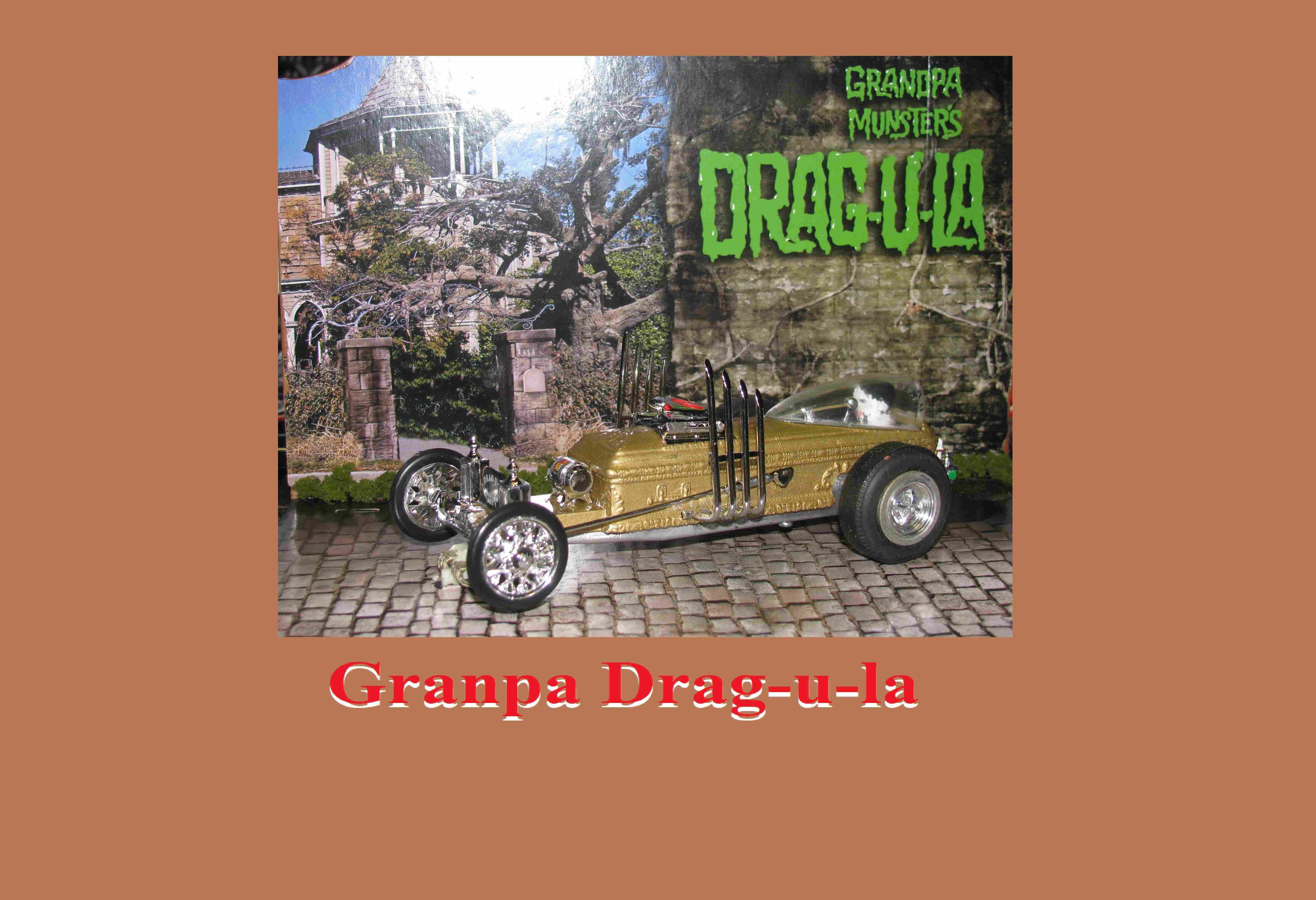 * SOLD * * SUMMER SALE * The Munster's' Grandpa's DRAG-U-LA Dragster Slot Car 1/24 Scale with Hard Wood Display Stand & Driver
