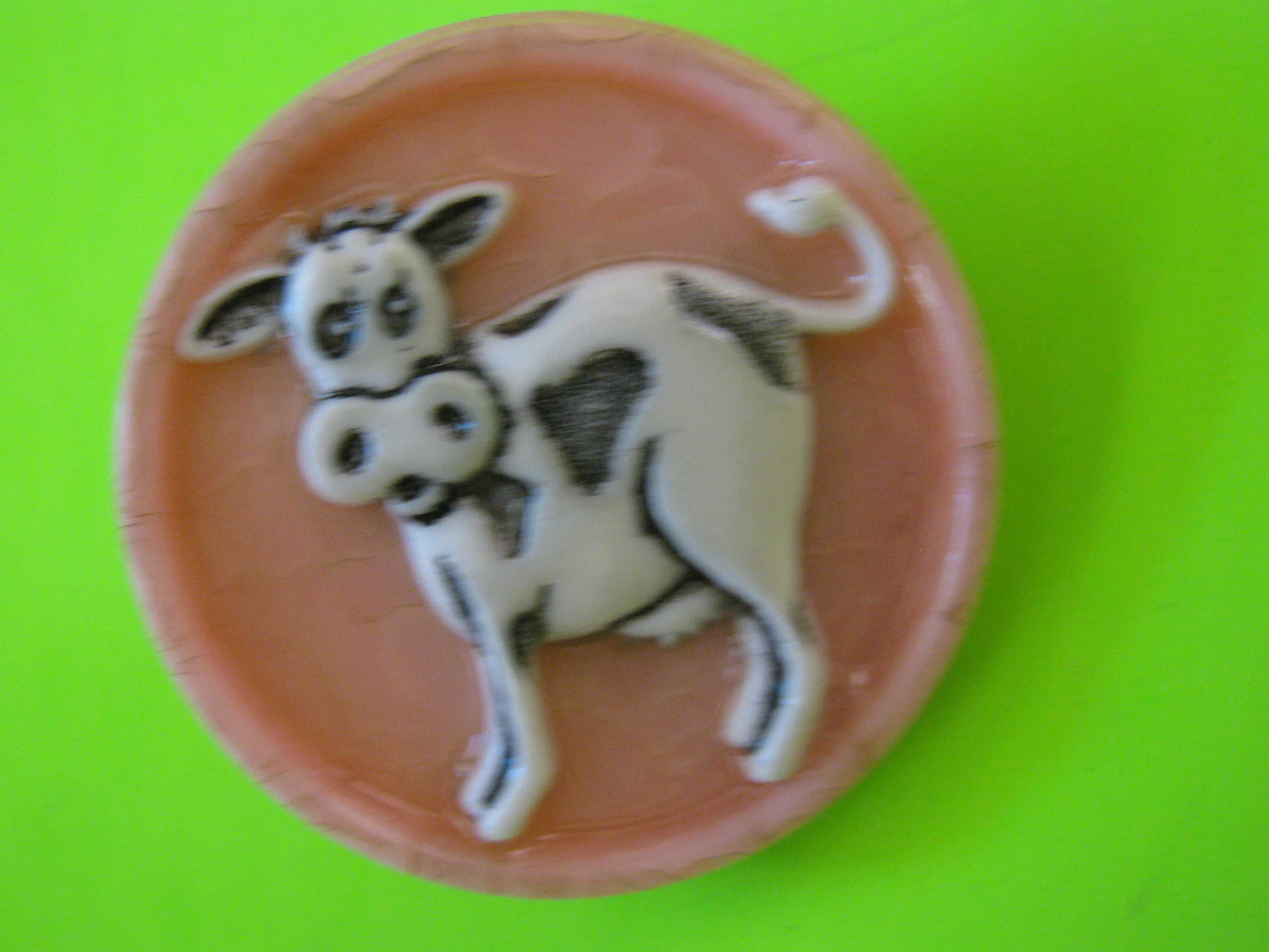 Vintage Plastic Button with B&J Style Cow and Brass Loop Shank