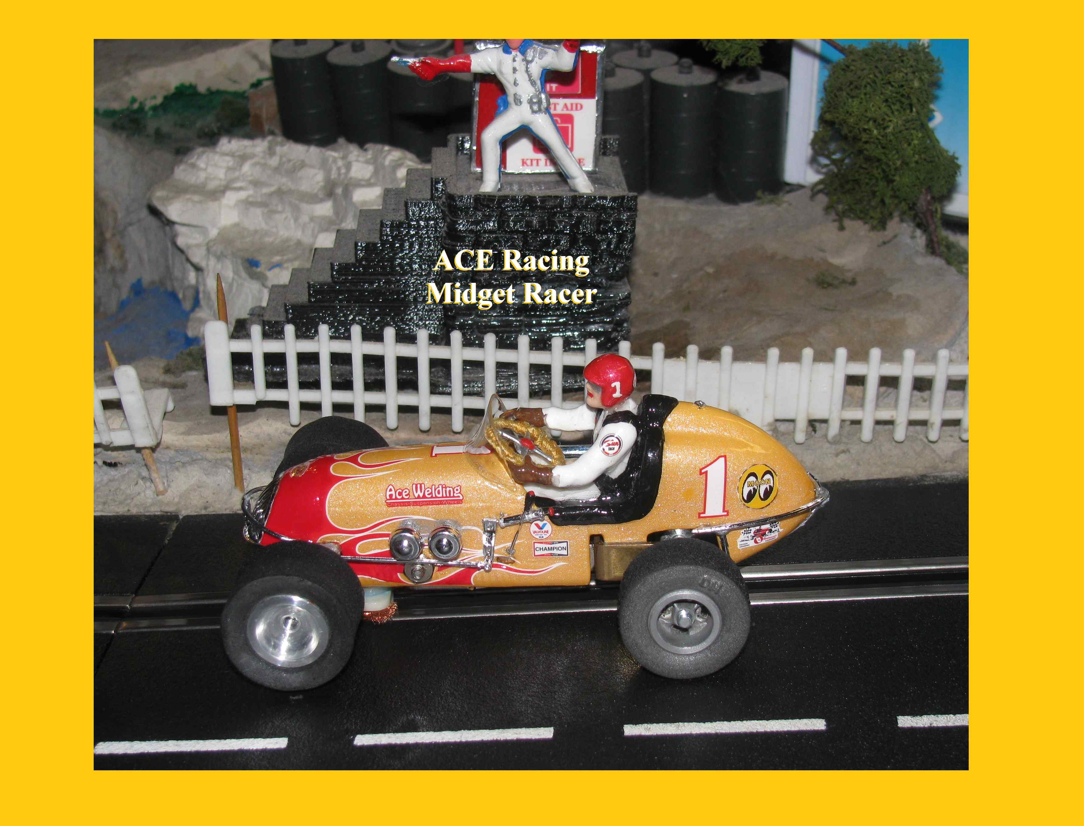 *SOLD* * FOR Charles E. ONLY $328 * *SALE $349.99, Reg, $449.99, SAVE $100* Revell Midget Racer ACE Racing Special 1:32 Scale in Yellow-Gold Pearlized Paint Car #1