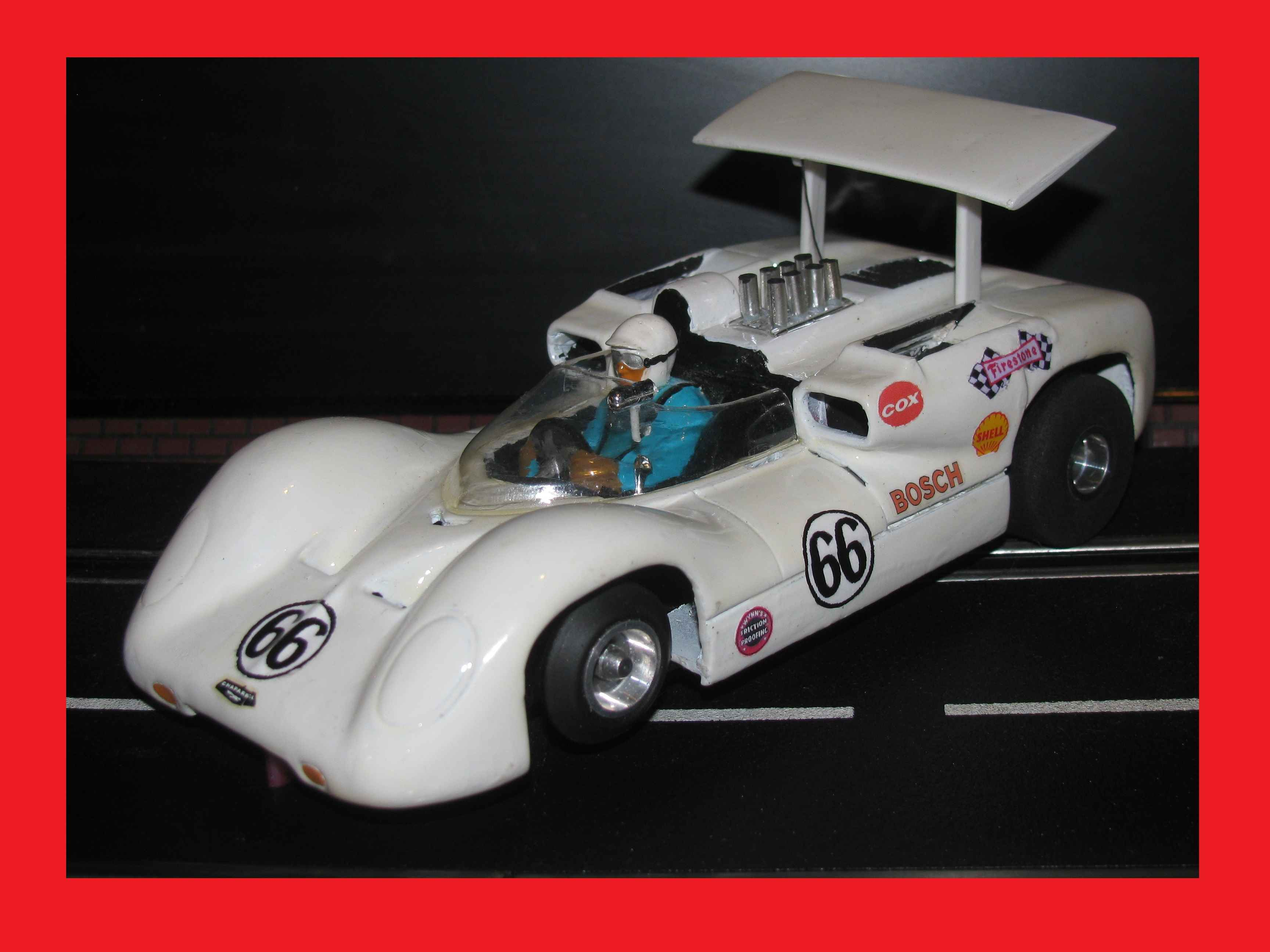 * SOLD to Chris C.* On HOLD FOR CHRIS C. at discounted price * * Winter Super Sale * COX Chaparral 2E Jim Hall #66 1:24 Scale Slot Car With Vintage and RARE IMC Chassis