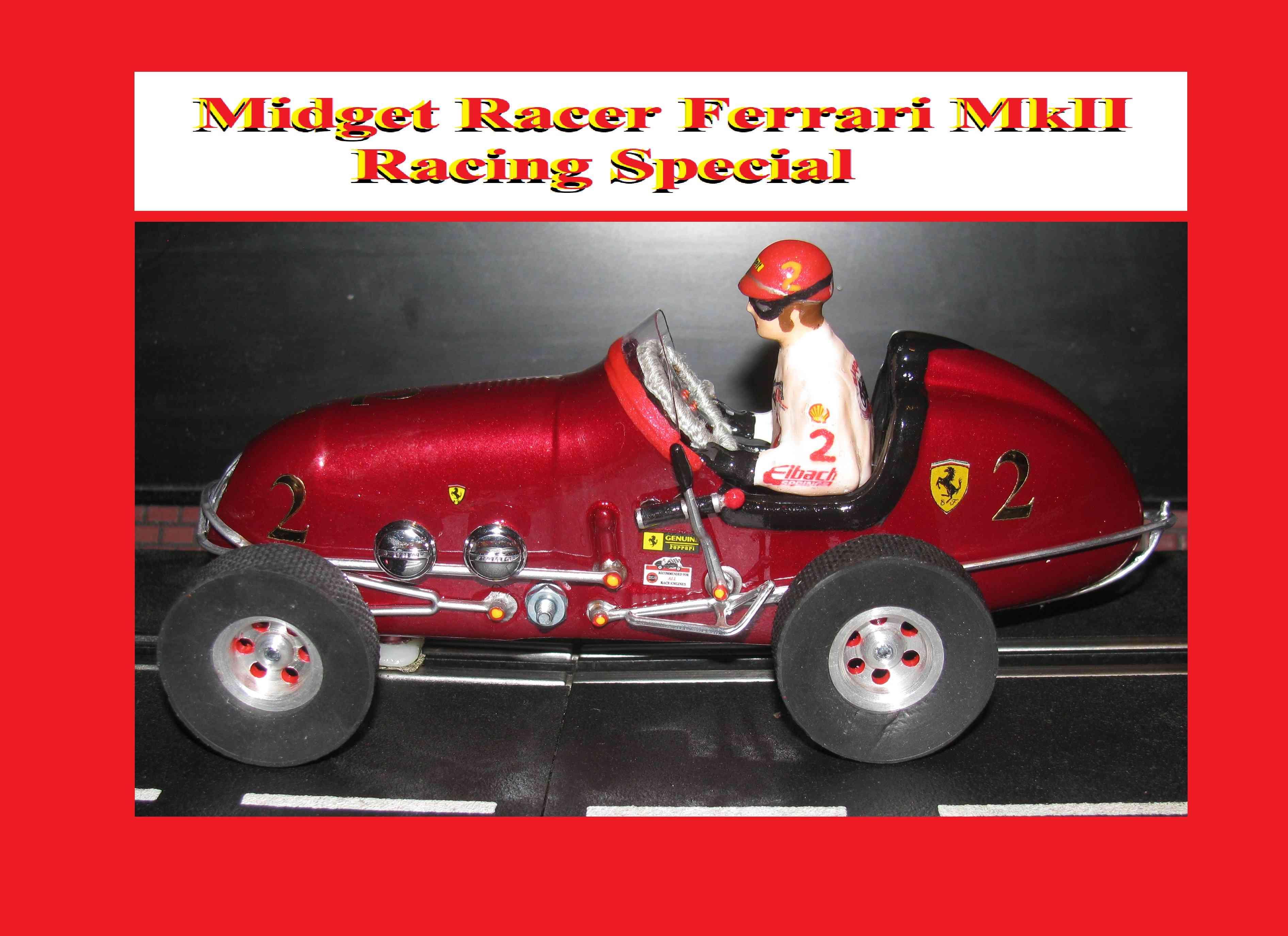 SALE - Monogram Midget Racer Ferrari MkII Racing Special Slot Car 1/24 Scale (Firemist Red Inferno Metallic)