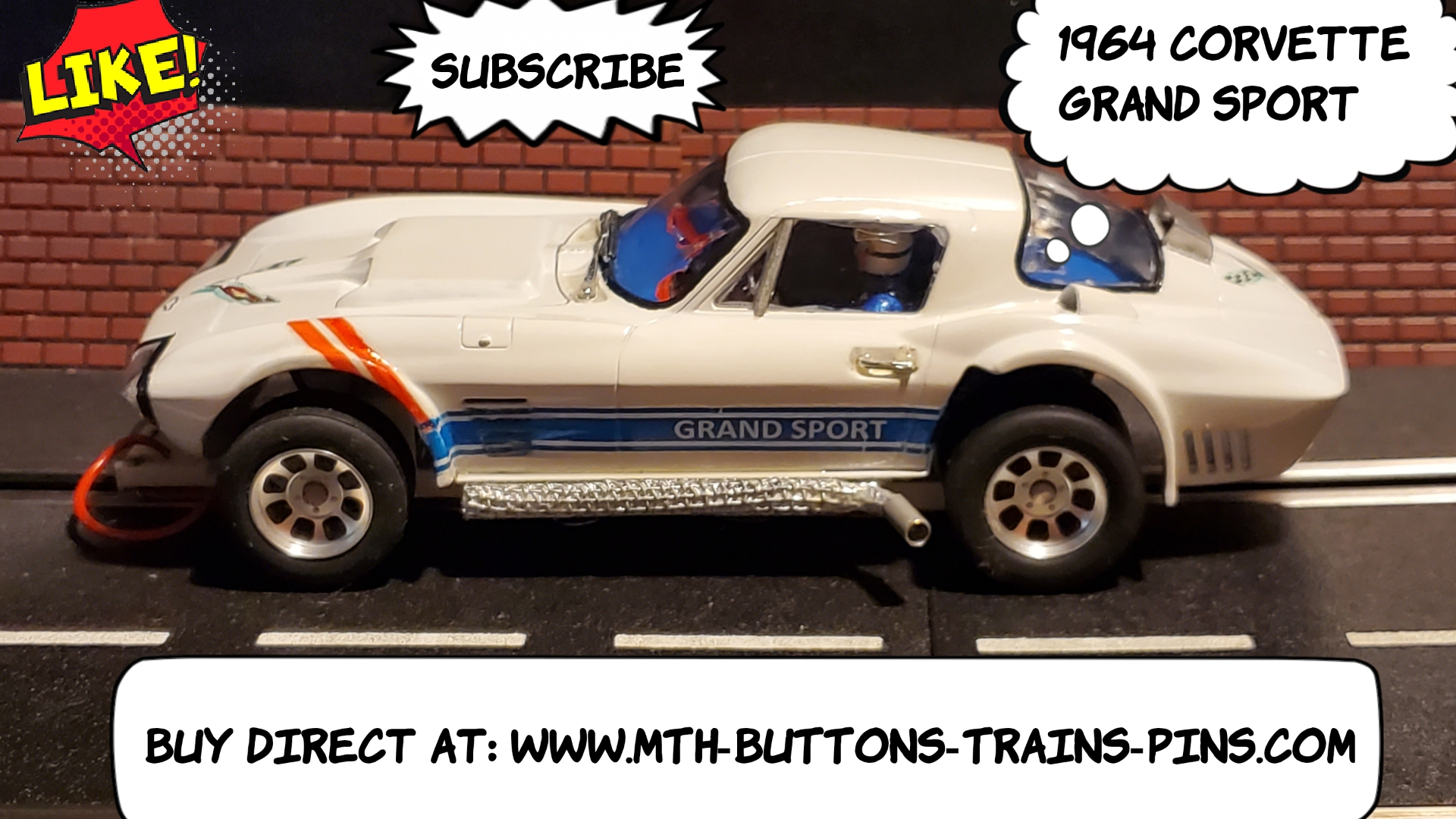 * Super September SALE * Vintage 1964 Corvette Grand Sport C2 in Ermine White Slot Car 1/24 scale