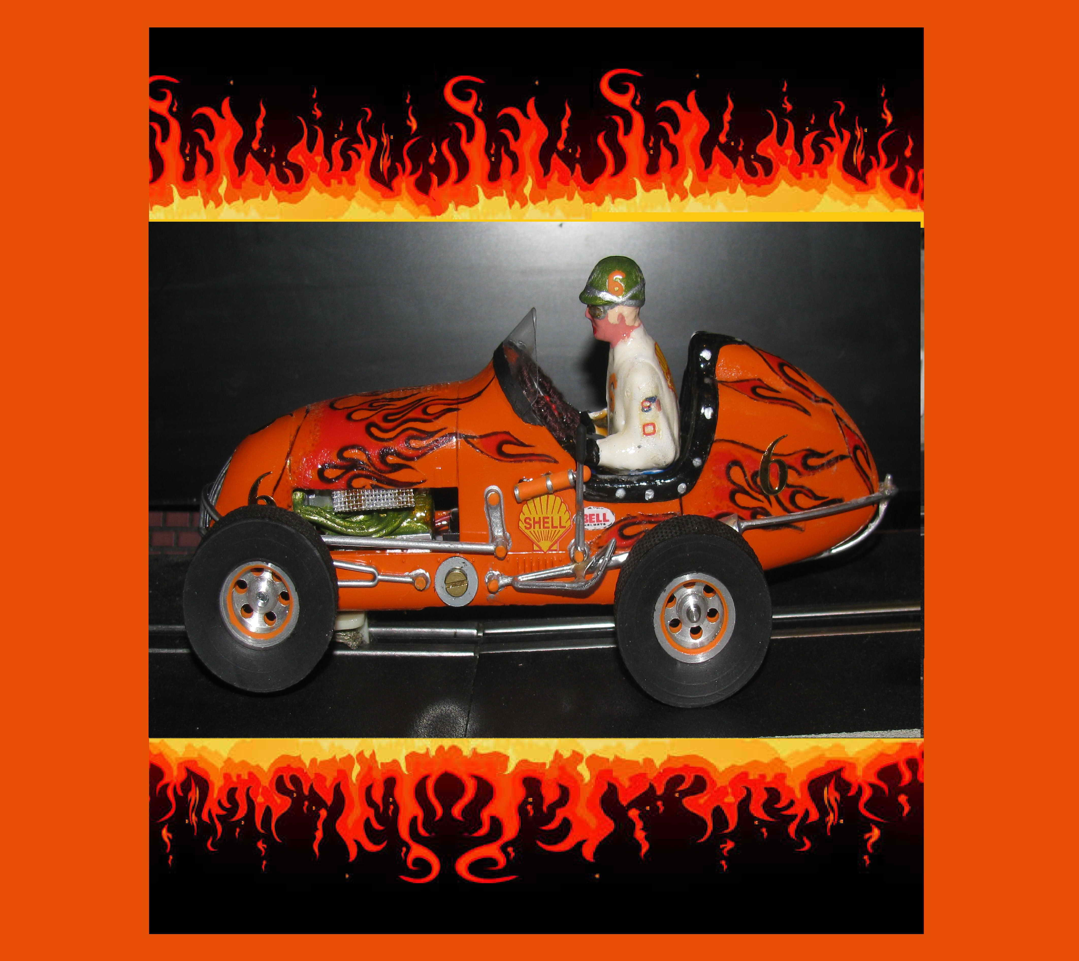 *SOLD* *SPECIAL FOR CHARLES E.* Monogram Midget Racer Outrageous Orange Wild Fire Special Slot Car