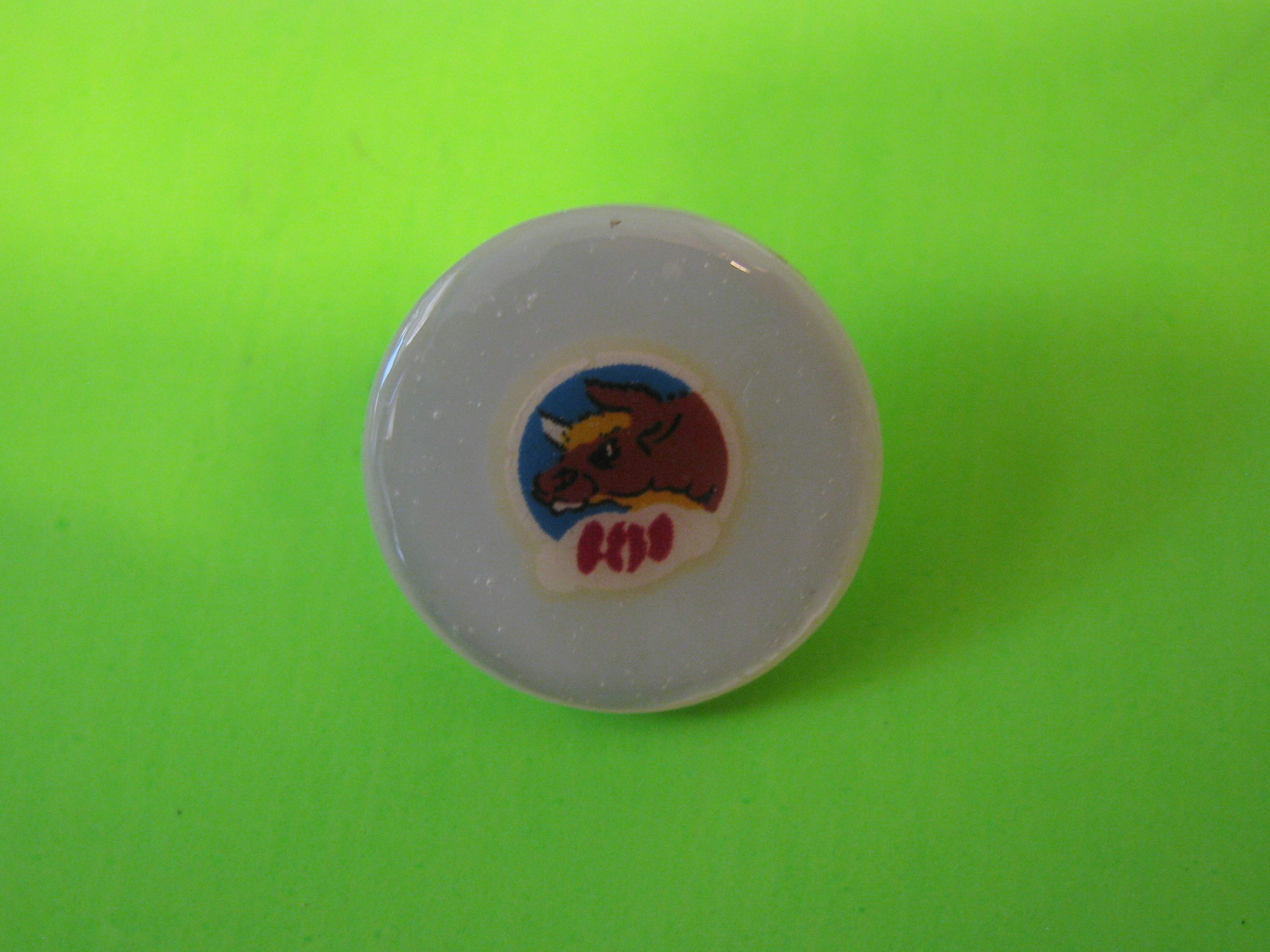 BeBo the Bull on Mother of Pearl Button with Metal Loop Shank