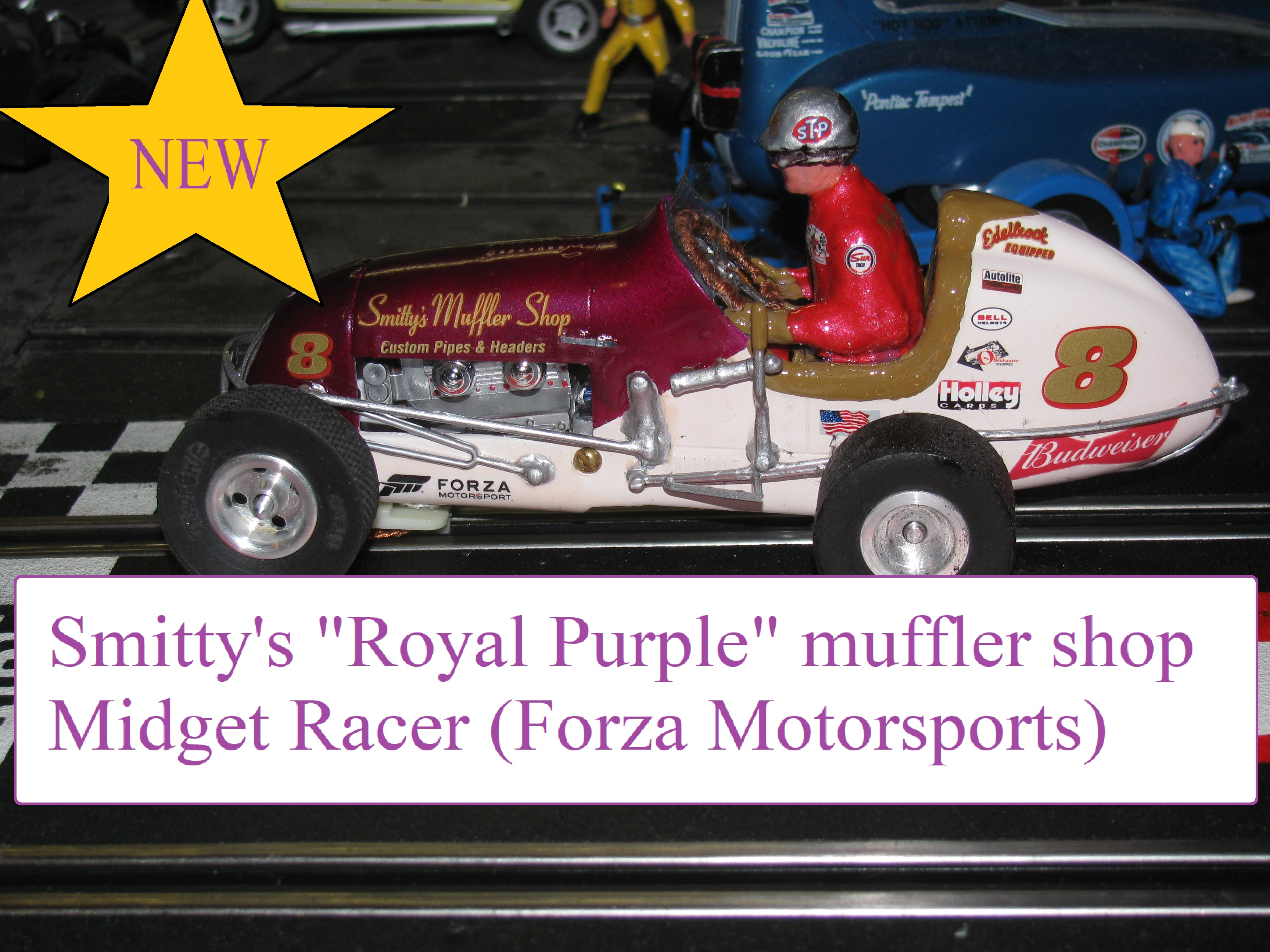 "*SOLD* Vintage Monogram Midget Racer Slot Car ""Smitty's Muffler Shop"" Car #8 (The Royal Purple Racer)"