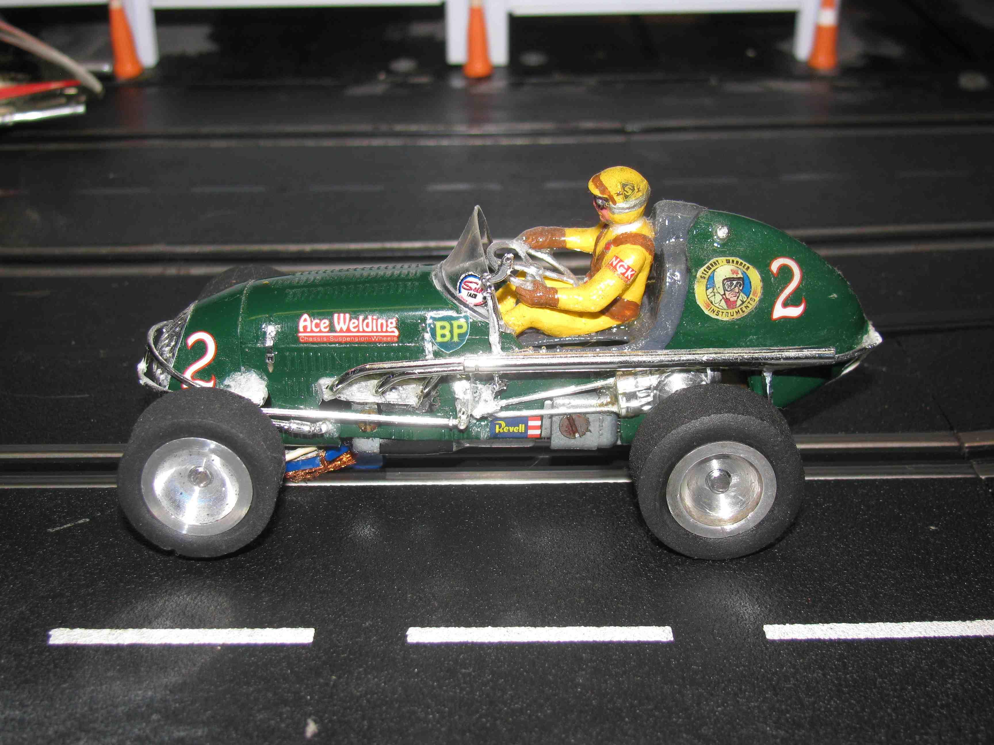 """* SOLD * * SALE * Vintage Midget Racer """"Green Arrow"""" - """"British Petroleum & ACE Welding"""" Slot Car 1/32 Scale – Car #2"""