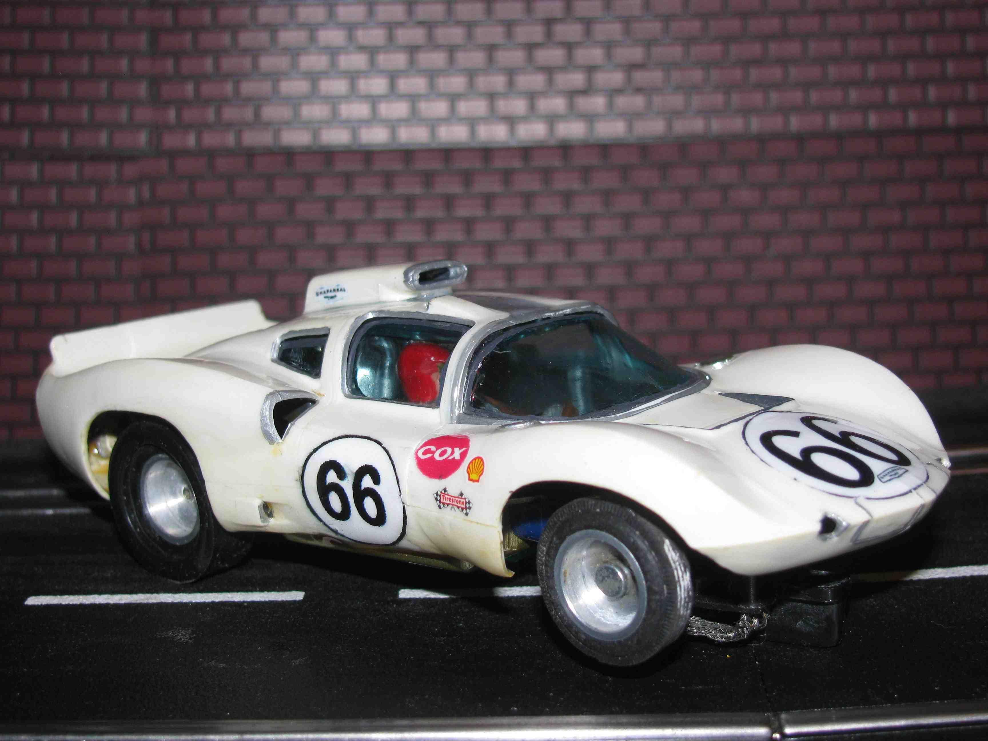 * SOLD * Strombecker CHAPARRAL 2D Vintage Slot Car White #66 – 1/32 Scale