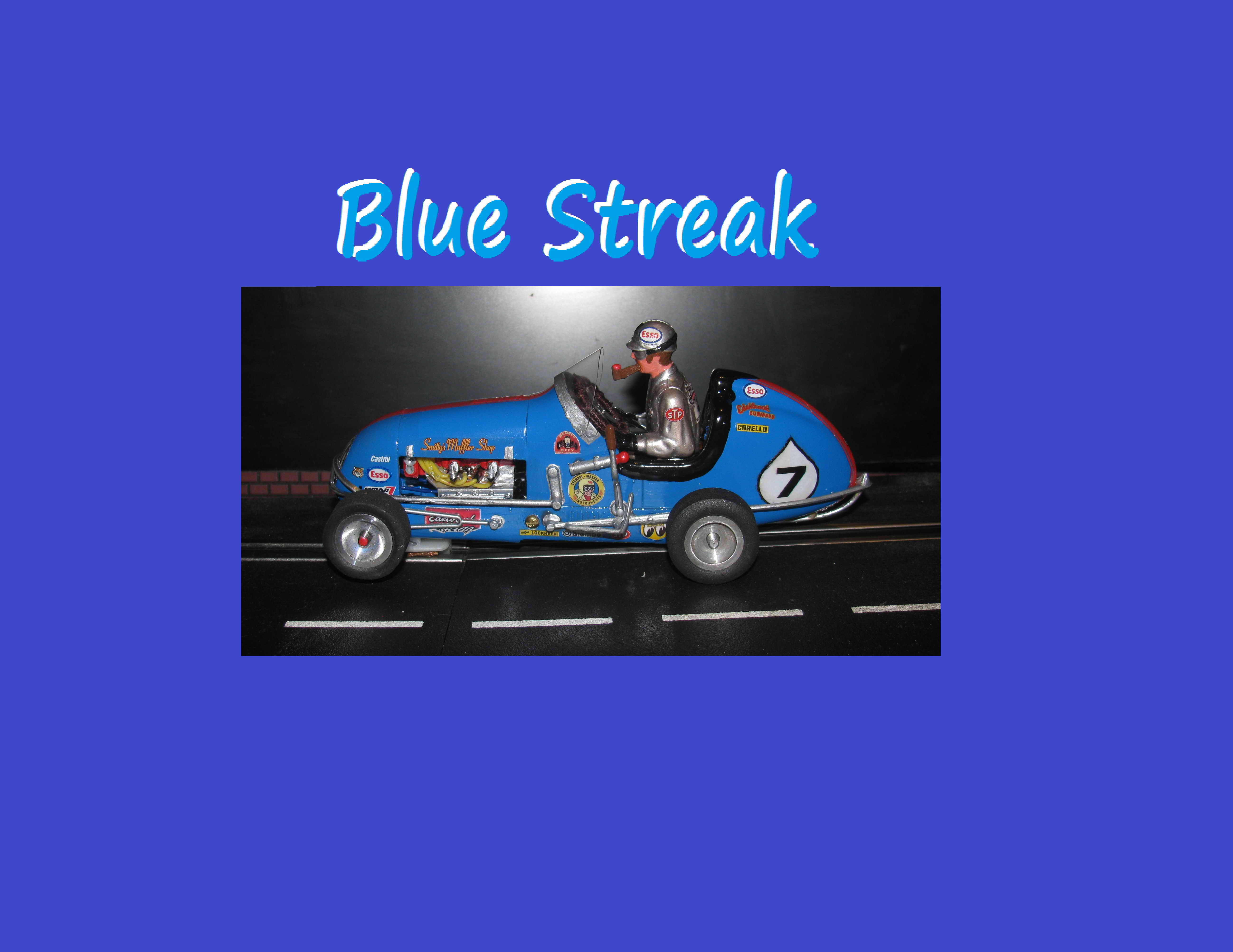 "* SOLD * Vintage Monogram Midget ""Blue Streak"" Racer Slot Car w/Driver Smoking a Pipe – Car 7"