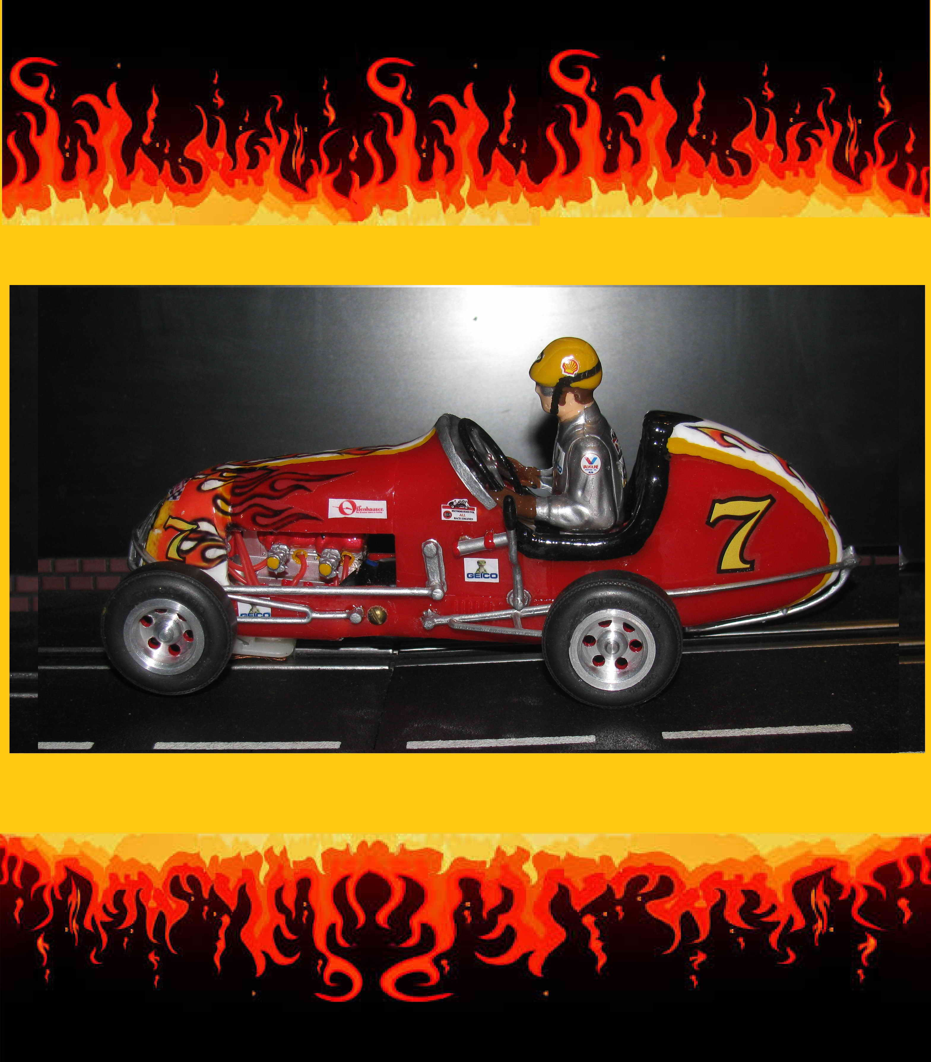 * SOLD * Midget Racer Slot Car Flamin Hot Rod Racing Special – Slot Car #7