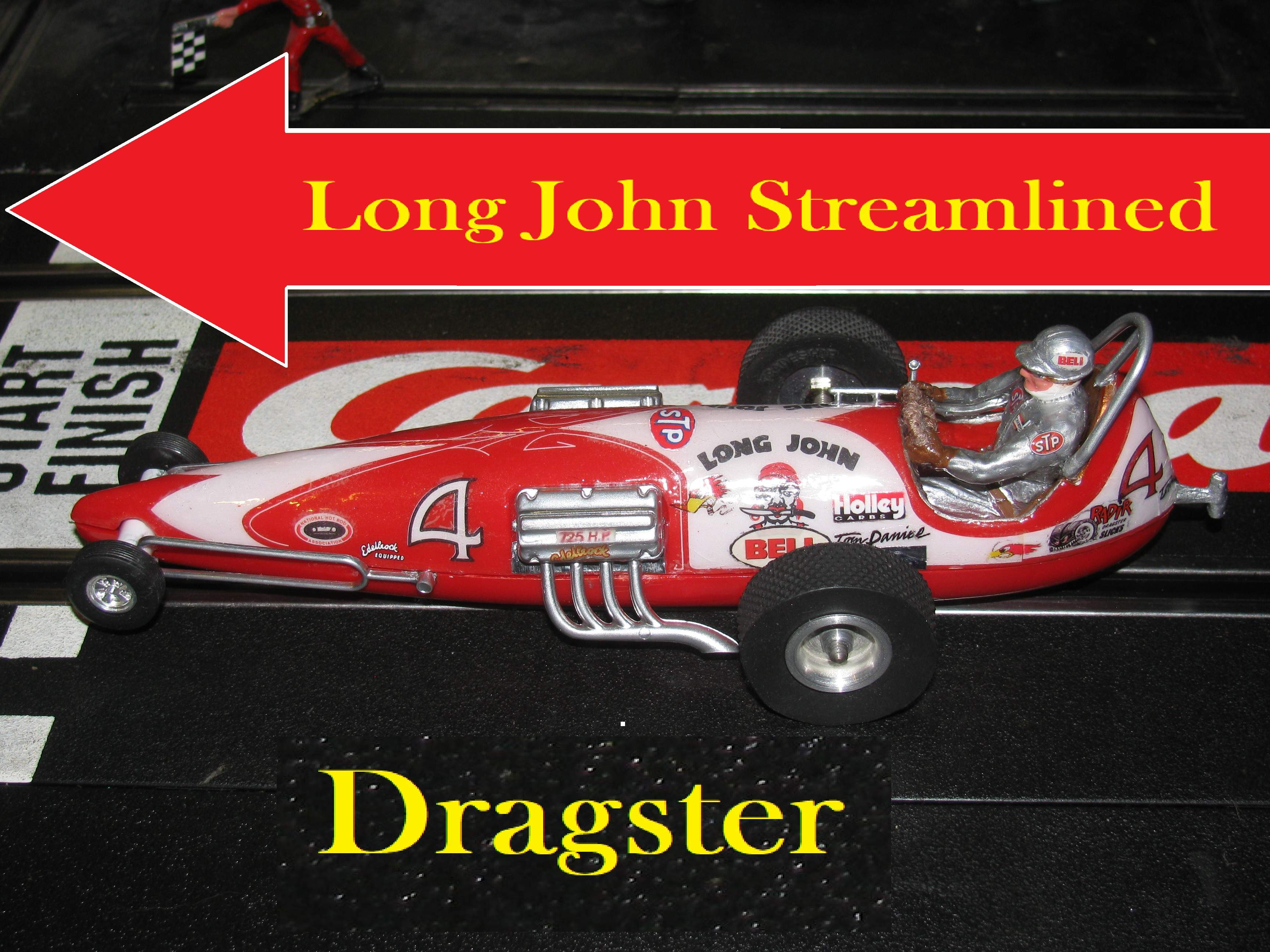 *SOLD* Vintage Monogram Revell Long John Streamline Dragster Slot Car 1/32 Scale – Red – Car #4 X